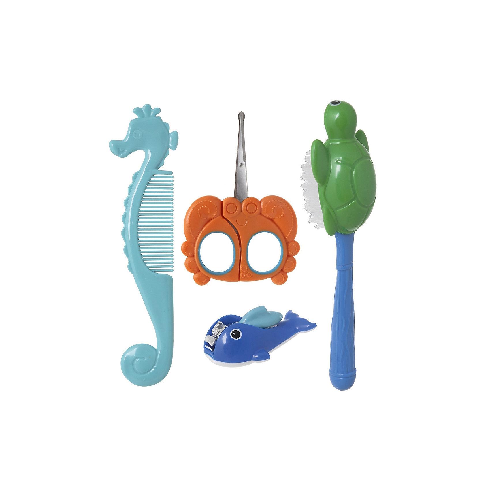 Набор детский «Большой океан», KurnosikiНабор детский «Большой океан», Kurnosiki – это функциональный и практичный набор необходимый для ухода за малышом с самого рождения.<br>Набор «Большой океан», Kurnosiki предназначен для гигиены и ухода за малышом с первых дней жизни. Элементы набора в виде обитателей океана облегчат уход за малышом и развлекут его время гигиенических процедур. Щетка в виде черепашки c мягкой щетиной создана специально для бережного ухода за волосами. Расческа в виде морского конька с закругленными для дополнительной безопасности зубчиками не поцарапает кожу, не вызывает неприятных ощущений при расчесывании. Безопасные ножнички в виде краба созданы специально для стрижки ногтей у маленьких детей. Удобные ручки и скругленные кончики сделают это занятие простым и приятным. Щипчики в виде кита, предназначенные для бережного ухода за ногтями малыша, помогут быстро и легко постричь мягкие детские ноготки. Щипчиками стричь легче - целиком захватив ноготок, вы быстро откусите лишнее. Для использования щипчиков поднимите ручку-рычаг вертикально вверх, поверните на 180° и опустите. Щипчики готовы к работе.<br><br>Дополнительная информация:<br><br>- В наборе: расческа, щетка безопасные ножнички, щипчики для ногтей<br>- Материал: пластик, нейлон, нержавеющая сталь<br>- Длина расчески: 16 см.<br>- Длина ножниц: 10 см.<br>- Размер упаковки: 5х15х29 см.<br><br>Набор детский «Большой океан», Kurnosiki можно купить в нашем интернет-магазине.<br><br>Ширина мм: 50<br>Глубина мм: 150<br>Высота мм: 290<br>Вес г: 145<br>Возраст от месяцев: 4<br>Возраст до месяцев: 36<br>Пол: Унисекс<br>Возраст: Детский<br>SKU: 4830277