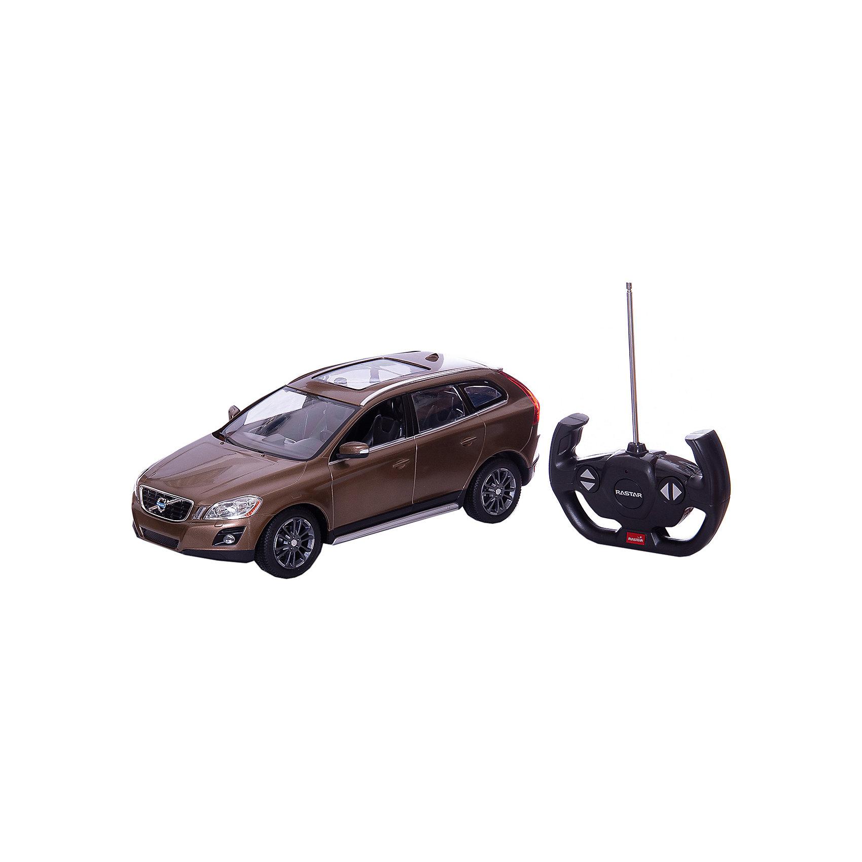 RASTAR Радиоуправляемая машина Volvo XC60 1:14, коричневаяРадиоуправляемый транспорт<br>RASTAR Радиоуправляемая машина Volvo XC60 1:14 - игрушка, которая наверняка приведет в восторг юного любителя  взрослых автомобилей: эта радиоуправляемая машина - уменьшенная копия настоящей Volvo! <br><br>Модель выполнена в масштабе 1: 14.<br><br>Особенности игрушки:<br><br>- Работает на частоте: 27MHz; <br>- Движение вперед, назад, вправо, влево; <br>- Контроль управления: 15 - 45 метров; <br>- Развивает скорость до: 7 км/ч; <br>- Светятся фары. <br><br><br>Дополнительная информация:<br><br><br>- Для работы требуются батарейки: 5 Х АА, 6F/22<br>(не входят в комплект).<br>- Размер упаковки: 45,5 х 21,5 х 19,5 см.<br>- Вес: 1,38 кг.<br><br>Ширина мм: 195<br>Глубина мм: 455<br>Высота мм: 215<br>Вес г: 1380<br>Возраст от месяцев: 72<br>Возраст до месяцев: 144<br>Пол: Мужской<br>Возраст: Детский<br>SKU: 4833561