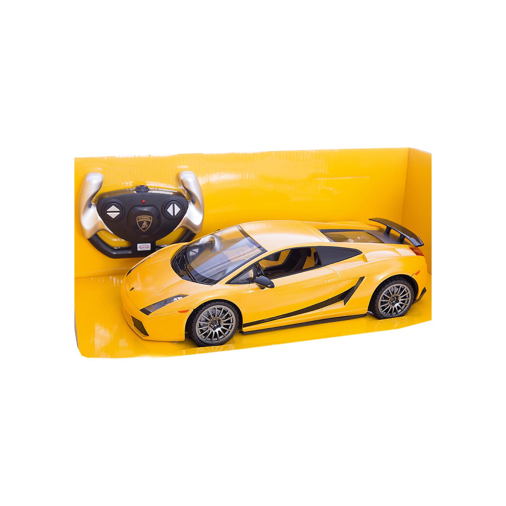 RASTAR Радиоуправляемая машина Lamborghini 1:14, желтаяМашинки<br>RASTAR Радиоуправляемая машина Lamborghini 1:14 - игрушка, которая наверняка приведет в восторг юного любителя  взрослых автомобилей: эта радиоуправляемая машина - уменьшенная копия настоящего Lamborghini! <br><br>Модель выполнена в масштабе 1: 14.<br><br>Особенности игрушки:<br><br>- Работает на частоте: 27MHz; <br>- Движение вперед, назад, вправо, влево; <br>- Контроль управления: 15 - 45 метров; <br>- Развивает скорость до: 7 км/ч; <br>- Светятся фары. <br><br><br>Дополнительная информация:<br><br><br>- Для работы требуются батарейки: 5 Х АА, 6F/22<br>(не входят в комплект).<br>- Материалы: пластмасса, металл.<br>- Размер: 30,7 х 13,6 х 8,5 см.<br>- Размер упаковки: 43 х 22,5 х 17,5 см.<br>- Вес: 1,16 кг.<br><br>Ширина мм: 175<br>Глубина мм: 430<br>Высота мм: 225<br>Вес г: 1160<br>Возраст от месяцев: 72<br>Возраст до месяцев: 144<br>Пол: Мужской<br>Возраст: Детский<br>SKU: 4833562