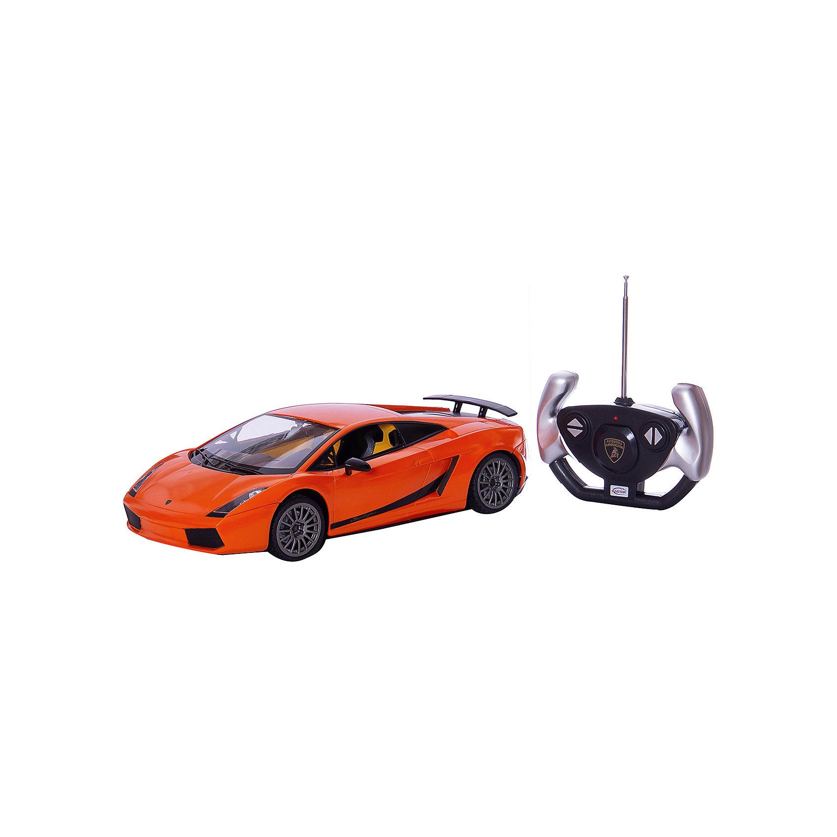 RASTAR Радиоуправляемая машина Lamborghini 1:14, оранжеваяRASTAR Радиоуправляемая машина Lamborghini 1:14 - игрушка, которая наверняка приведет в восторг юного любителя  взрослых автомобилей: эта радиоуправляемая машина - уменьшенная копия настоящего Lamborghini! <br><br>Модель выполнена в масштабе 1: 14.<br><br>Особенности игрушки:<br><br>- Работает на частоте: 27MHz; <br>- Движение вперед, назад, вправо, влево; <br>- Контроль управления: 15 - 45 метров; <br>- Развивает скорость до: 7 км/ч; <br>- Светятся фары. <br><br><br>Дополнительная информация:<br><br><br>- Для работы требуются батарейки: 5 Х АА, 6F/22<br>(не входят в комплект).<br>- Материалы: пластмасса, металл.<br>- Размер: 30,7 х 13,6 х 8,5 см.<br>- Размер упаковки: 43 х 22,5 х 17,5 см.<br>- Вес: 1,16 кг.<br><br>Ширина мм: 175<br>Глубина мм: 430<br>Высота мм: 225<br>Вес г: 1160<br>Возраст от месяцев: 72<br>Возраст до месяцев: 144<br>Пол: Мужской<br>Возраст: Детский<br>SKU: 4833563