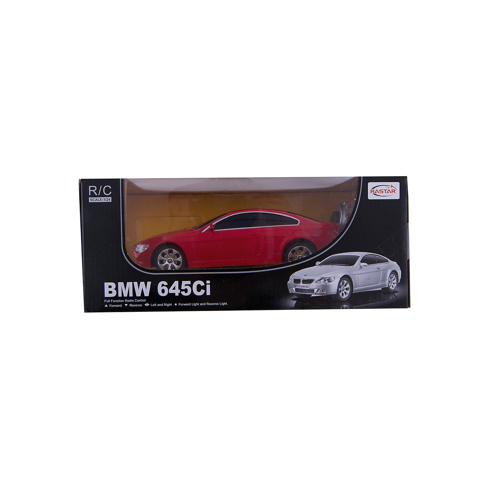 RASTAR Радиоуправляемая машина BMW 645Ci 1:24, краснаяМашинки<br>RASTAR Радиоуправляемая машина BMW 645Ci 1:24 - игрушка, которая наверняка приведет в восторг вашего ребенка, ведь эта радиоуправляемая машина - уменьшенная копия настоящего БМВ! <br><br>Модель выполнена в масштабе 1: 24.<br><br>Особенности игрушки:<br><br>- Работает на частоте: 27MHz; <br>- Движение вперед, назад, вправо, влево; <br>- Контроль управления: 15 - 45 метров; <br>- Развивает скорость до: 7 км/ч; <br>- Светятся фары. <br><br><br>Дополнительная информация:<br><br>- Для работы требуются батарейки: 5 Х АА (не входят в комплект).<br>- Материалы: пластик.<br>- Размер упаковки: 28,5х12х10 см.<br>- Вес: 460 г.<br><br>Ширина мм: 100<br>Глубина мм: 385<br>Высота мм: 120<br>Вес г: 460<br>Возраст от месяцев: 72<br>Возраст до месяцев: 144<br>Пол: Мужской<br>Возраст: Детский<br>SKU: 4833564