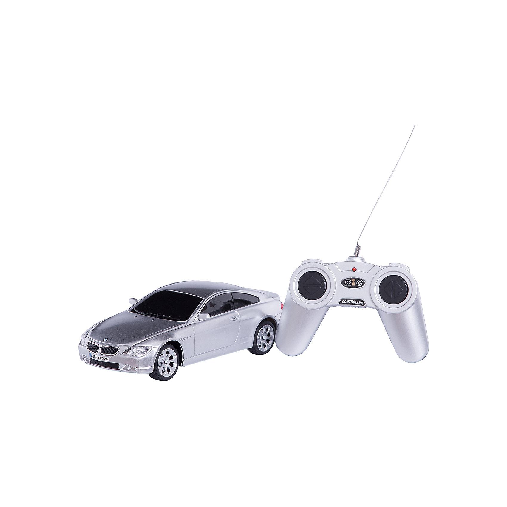 RASTAR Радиоуправляемая машина BMW 645Ci 1:24, серебристаяРадиоуправляемый транспорт<br>RASTAR Радиоуправляемая машина BMW 645Ci 1:24 - игрушка, которая наверняка приведет в восторг вашего ребенка, ведь эта радиоуправляемая машина - уменьшенная копия настоящего БМВ! <br><br>Модель выполнена в масштабе 1: 24.<br><br>Особенности игрушки:<br><br>- Работает на частоте: 27MHz; <br>- Движение вперед, назад, вправо, влево; <br>- Контроль управления: 15 - 45 метров; <br>- Развивает скорость до: 7 км/ч; <br>- Светятся фары. <br><br><br>Дополнительная информация:<br><br>- Для работы требуются батарейки: 5 Х АА (не входят в комплект).<br>- Материалы: пластик.<br>- Размер упаковки: 28,5х12х10 см.<br>- Вес: 460 г.<br><br>Ширина мм: 100<br>Глубина мм: 385<br>Высота мм: 120<br>Вес г: 460<br>Возраст от месяцев: 72<br>Возраст до месяцев: 144<br>Пол: Мужской<br>Возраст: Детский<br>SKU: 4833565