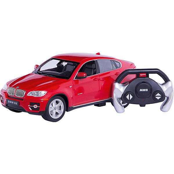 RASTAR Радиоуправляемая машина BMW X6 1:14, краснаяРадиоуправляемые машины<br>Характеристики:<br><br>• вес в упаковке: 1,330кг.;<br>• материал:металл, пластик;<br>• тип батарейки: 5хАА<br>• размер упаковки: 45,5х19,5х21,5см.;<br>• размер машины: 35х15,8х12,6см.;<br>• упаковка: картонная коробка;<br>• для детей в возрасте: от 8 лет.;<br>• страна производитель:Китай.<br><br>Радиоуправляемый БМВ Х6 красного цвета бренда «RASTAR» (Рестар) станет сбывшейся мечтой для любого маленького мальчишки. Это макет настоящей машины сделанный в масштабе 1 к 14. Он создан из высококачественных, экологически чистых материалов, что очень важно для детских товаров.<br><br>  Макет приводится в движение с помощью пульта управления, который работает на расстоянии сорока пяти метров, что значительно упрощает управление машиной. При движении вперёд светятся фары, а при движении назад включаются габариты. Элементом питания служат пять батареек не входящих в комплект.<br><br>Ребёнок быстрее разберётся с управлением автомобиля применяя пульт управления, станет ловко обходить различные препятствия. Для друзей и родителей устраивать настоящие гонки. Играя дети развивают фантазию, быстроту реакции, координацию движений, глазомер.<br><br>Радиоуправляемый БМВ Х6 красного цвета, можно купить в нашем интернет-магазине.<br>Ширина мм: 195; Глубина мм: 455; Высота мм: 215; Вес г: 1360; Возраст от месяцев: 72; Возраст до месяцев: 144; Пол: Мужской; Возраст: Детский; SKU: 4833567;