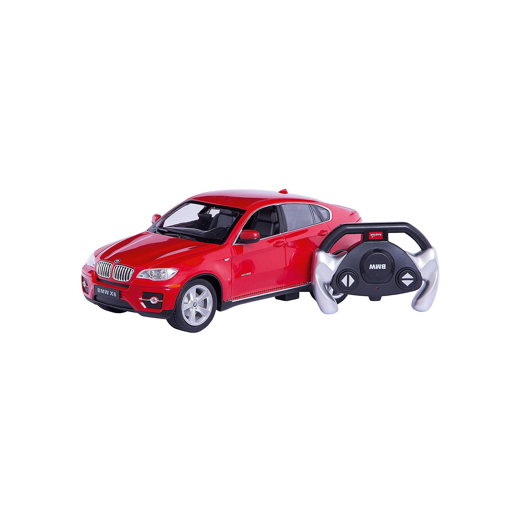 RASTAR Радиоуправляемая машина BMW X6 1:14, краснаяМашинки<br>RASTAR Радиоуправляемая машина BMW X6 1:14 - игрушка, которая наверняка приведет в восторг вашего ребенка, ведь эта радиоуправляемая машина - уменьшенная копия настоящего БМВ! <br><br>Модель выполнена в масштабе 1: 14.<br><br>Особенности игрушки:<br><br>- Работает на частоте: 27MHz; <br>- Движение вперед, назад, вправо, влево; <br>- Контроль управления: 15 - 45 метров; <br>- Развивает скорость до: 7 км/ч; <br>- Светятся фары. <br><br><br>Дополнительная информация:<br><br>- Для работы требуются батарейки: 5 Х АА (не входят в комплект).<br>- Материалы: пластик.<br>- Размер упаковки: 43х21,5х19,5 см.<br>- Вес: 1330 г.<br><br>Ширина мм: 195<br>Глубина мм: 455<br>Высота мм: 215<br>Вес г: 1360<br>Возраст от месяцев: 72<br>Возраст до месяцев: 144<br>Пол: Мужской<br>Возраст: Детский<br>SKU: 4833567