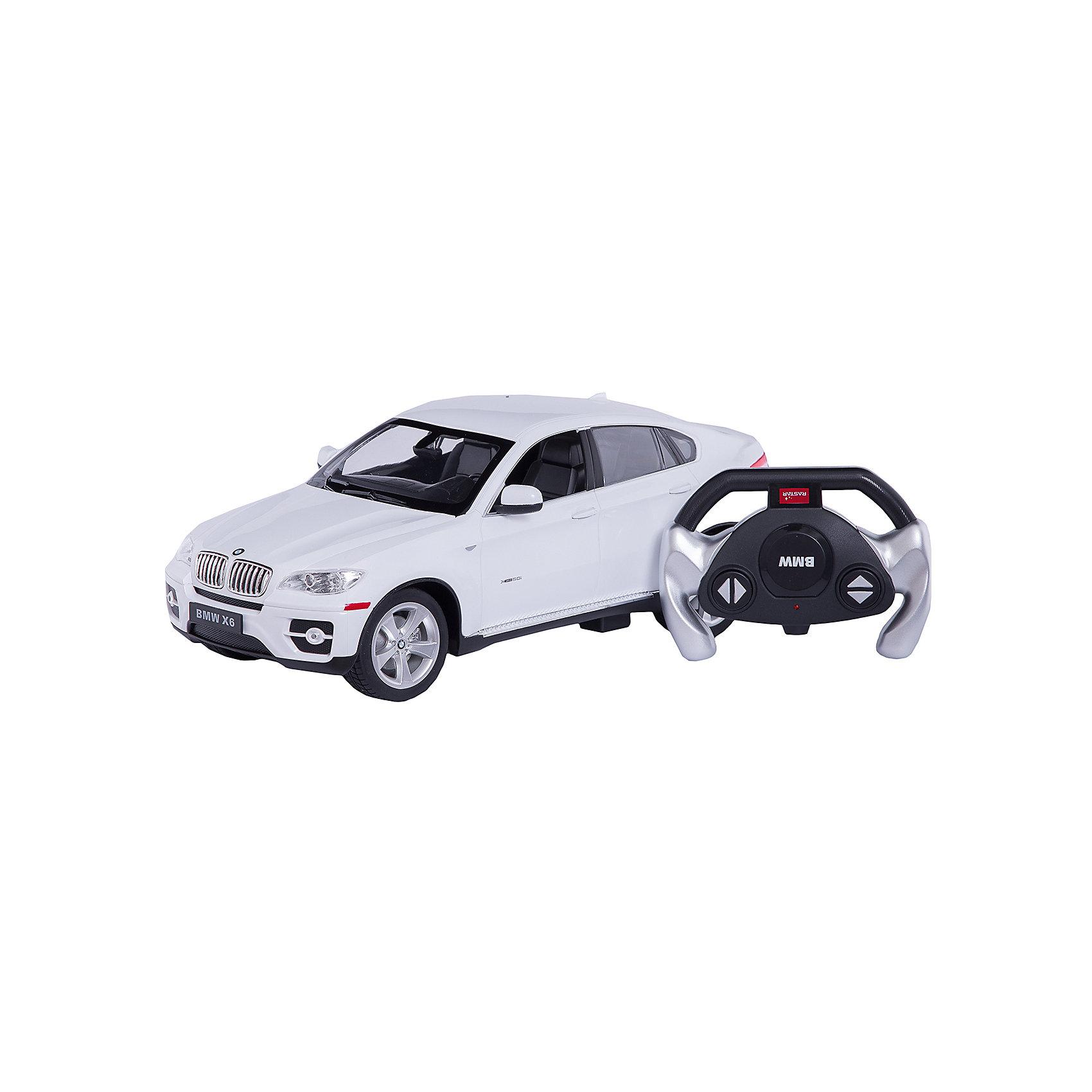 RASTAR Радиоуправляемая машина BMW X6 1:14, белаяРадиоуправляемый транспорт<br>RASTAR Радиоуправляемая машина BMW X6 1:14 - игрушка, которая наверняка приведет в восторг вашего ребенка, ведь эта радиоуправляемая машина - уменьшенная копия настоящего БМВ! <br><br>Модель выполнена в масштабе 1: 14.<br><br>Особенности игрушки:<br><br>- Работает на частоте: 27MHz; <br>- Движение вперед, назад, вправо, влево; <br>- Контроль управления: 15 - 45 метров; <br>- Развивает скорость до: 7 км/ч; <br>- Светятся фары. <br><br><br>Дополнительная информация:<br><br>- Для работы требуются батарейки: 5 Х АА (не входят в комплект).<br>- Материалы: пластик.<br>- Размер упаковки: 43х21,5х19,5 см.<br>- Вес: 1330 г.<br><br>Ширина мм: 195<br>Глубина мм: 455<br>Высота мм: 215<br>Вес г: 1360<br>Возраст от месяцев: 72<br>Возраст до месяцев: 144<br>Пол: Мужской<br>Возраст: Детский<br>SKU: 4833568