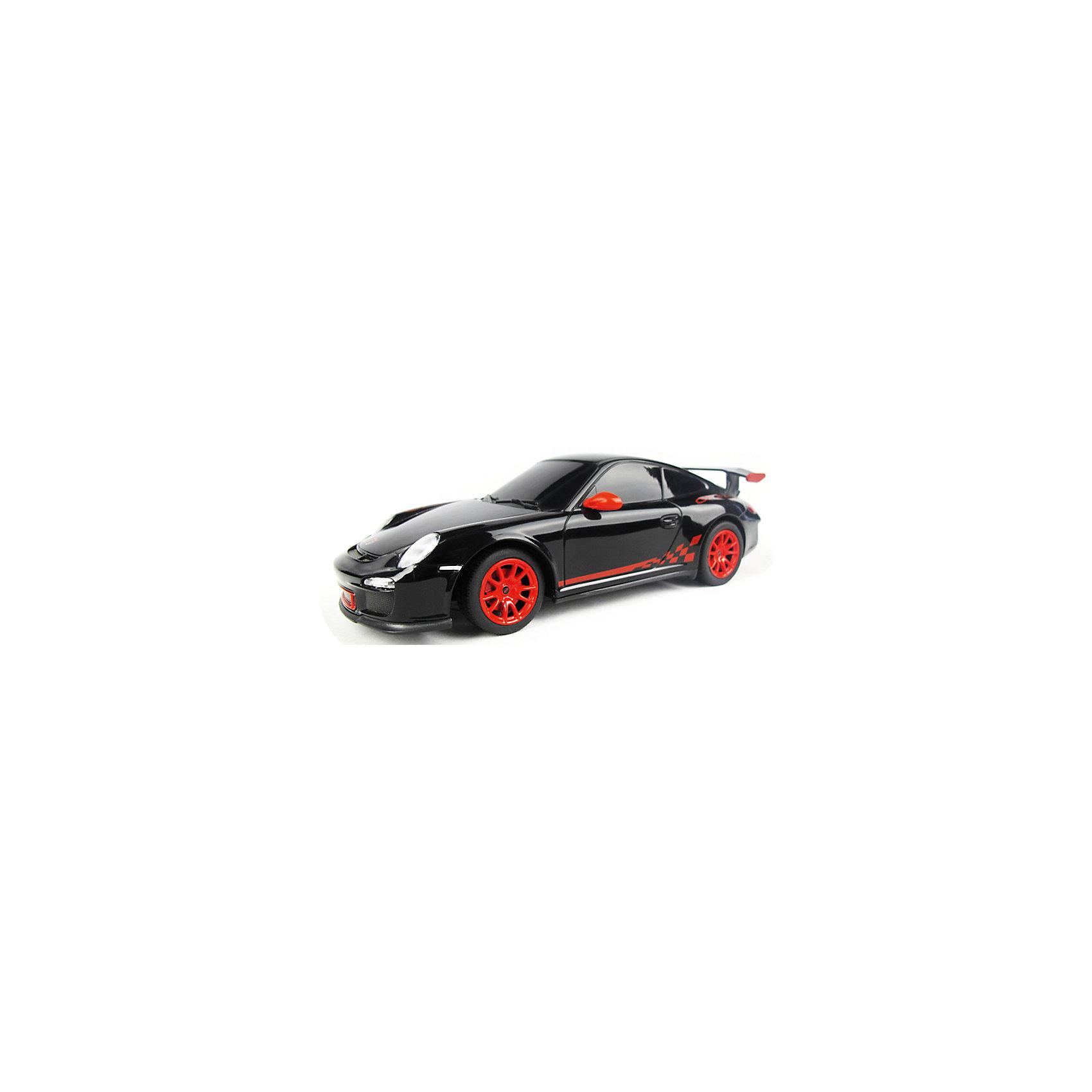 RASTAR Радиоуправляемая машина Porsche GT3 RS 1:24, чернаяМашинки<br>RASTAR Радиоуправляемая машина Porsche GT3 - игрушка, которая наверняка приведет в восторг юного любителя настоящих, взрослых автомобилей: эта радиоуправляемая машина - уменьшенная копия настоящего Порше! <br><br>Модель выполнена в масштабе 1: 24.<br><br>Особенности игрушки:<br><br>- Работает на частоте: 27MHz; <br>- Движение вперед, назад, вправо, влево; <br>- Контроль управления: 15 - 45 метров; <br>- Развивает скорость до: 7 км/ч; <br>- Светятся фары. <br><br><br>Дополнительная информация:<br><br><br><br>- Для работы требуются батарейки: 5 Х АА (не входят в комплект).<br>- Материалы: пластмасса, металл.<br>- Размер: 18 см.<br>- Размер упаковки: 38,5х12х10 см.<br>- Вес: 480 г.<br><br>Ширина мм: 100<br>Глубина мм: 385<br>Высота мм: 120<br>Вес г: 480<br>Возраст от месяцев: 72<br>Возраст до месяцев: 144<br>Пол: Мужской<br>Возраст: Детский<br>SKU: 4833569