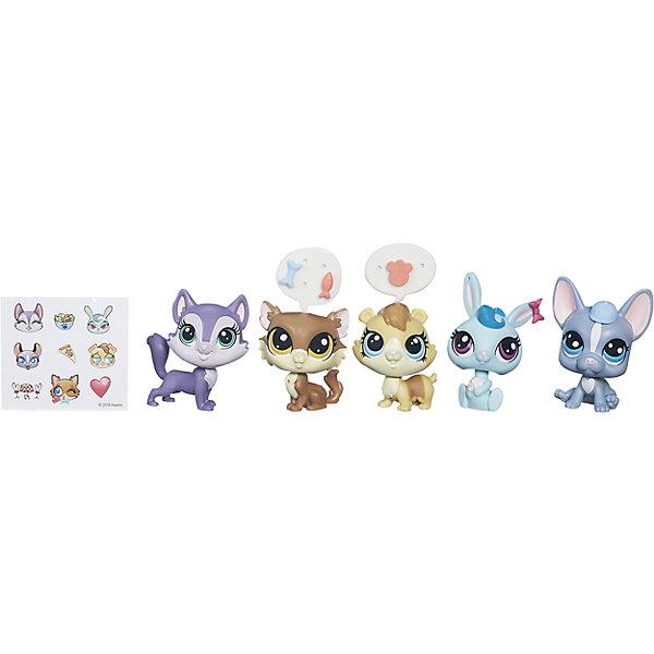 Мульти-набор зверюшек, Littlest Pet Shop, B5005/B0282Коллекционные и игровые фигурки<br>Встречайте новую мини-коллекцию очаровательных зверюшек, они такие милый и очаровательные, что не оставят равнодушным ни одного ребенка! В одной упаковке 5 зверюшек, 5 аксессуаров и стикеры, чтобы рассказать, о чем думают забавные зверята. Собери их всех и проигрывай сценки из любимого телесериала Маленький зоомагазин!  Дополнительная информация:  - Материал: пластик. - Размер одной игрушки: 5 см. - Комплектация: 5 игрушек, 5 аксессуаров.  Мульти-набор зверюшек, Littlest Pet Shop (Литл пет шоп)  можно купить в нашем магазине.<br><br>Ширина мм: 202<br>Глубина мм: 49<br>Высота мм: 227<br>Вес г: 2247<br>Возраст от месяцев: 48<br>Возраст до месяцев: 144<br>Пол: Женский<br>Возраст: Детский<br>SKU: 4833587