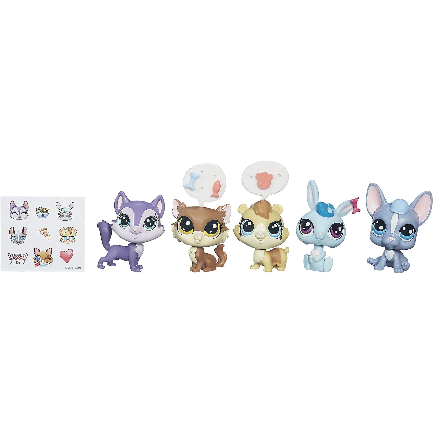 Мульти-набор зверюшек, Littlest Pet Shop, B5005/B0282Игрушки<br>Встречайте новую мини-коллекцию очаровательных зверюшек, они такие милый и очаровательные, что не оставят равнодушным ни одного ребенка! В одной упаковке 5 зверюшек, 5 аксессуаров и стикеры, чтобы рассказать, о чем думают забавные зверята. Собери их всех и проигрывай сценки из любимого телесериала Маленький зоомагазин!  Дополнительная информация:  - Материал: пластик. - Размер одной игрушки: 5 см. - Комплектация: 5 игрушек, 5 аксессуаров.  Мульти-набор зверюшек, Littlest Pet Shop (Литл пет шоп)  можно купить в нашем магазине.<br><br>Ширина мм: 202<br>Глубина мм: 49<br>Высота мм: 227<br>Вес г: 2247<br>Возраст от месяцев: 48<br>Возраст до месяцев: 144<br>Пол: Женский<br>Возраст: Детский<br>SKU: 4833587