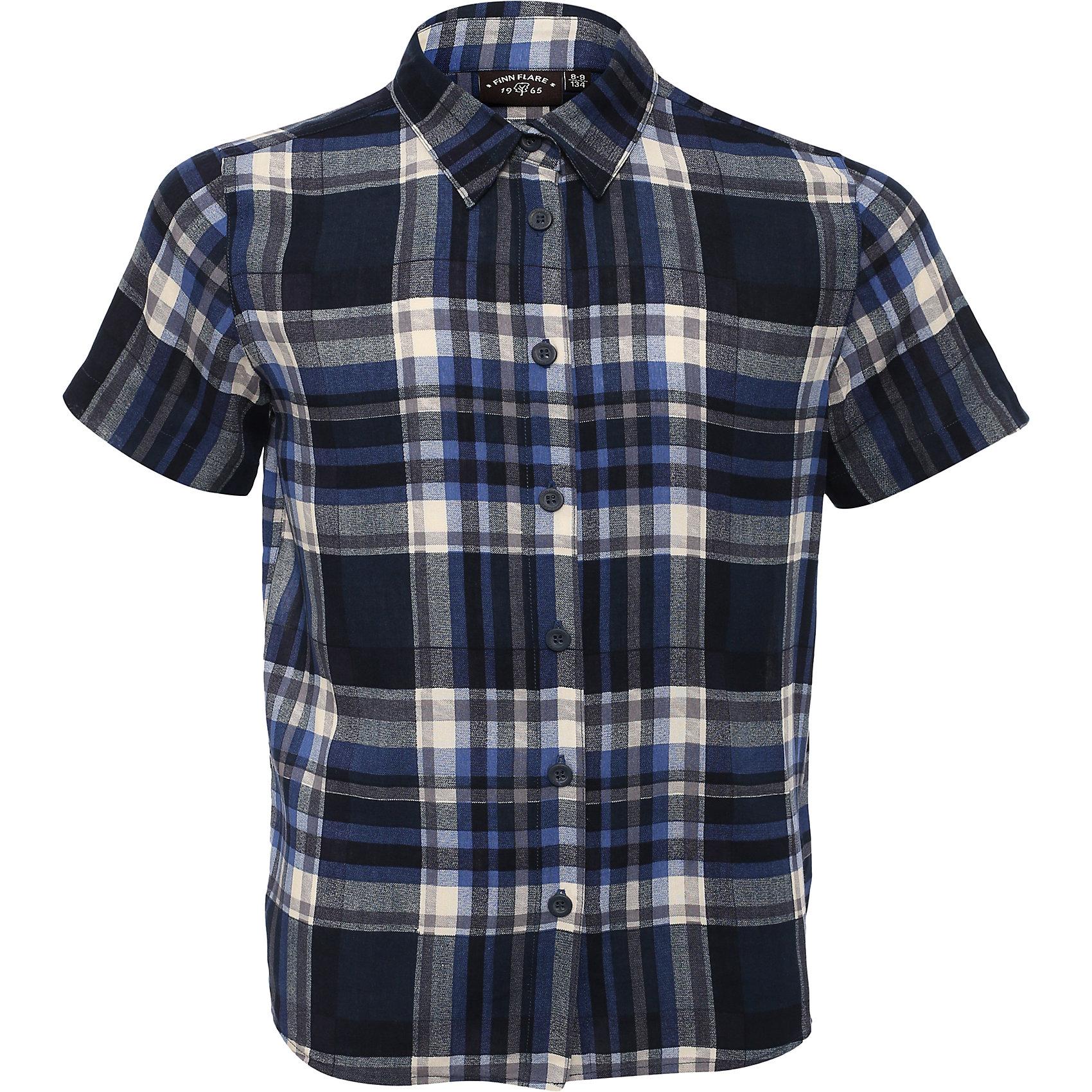 Рубашка для мальчика Finn FlareБлузки и рубашки<br>Рубашка для мальчика от известного бренда Finn Flare<br>Фактура материала:Текстильный<br>Вид застежки:Пуговицы<br> Длина рукава:Короткие<br> Тип карманов:Без карманов<br>Состав:<br>100% вискоза<br><br>Ширина мм: 174<br>Глубина мм: 10<br>Высота мм: 169<br>Вес г: 157<br>Цвет: темно-синий<br>Возраст от месяцев: 72<br>Возраст до месяцев: 84<br>Пол: Мужской<br>Возраст: Детский<br>Размер: 122,110,134,146,158<br>SKU: 4835660