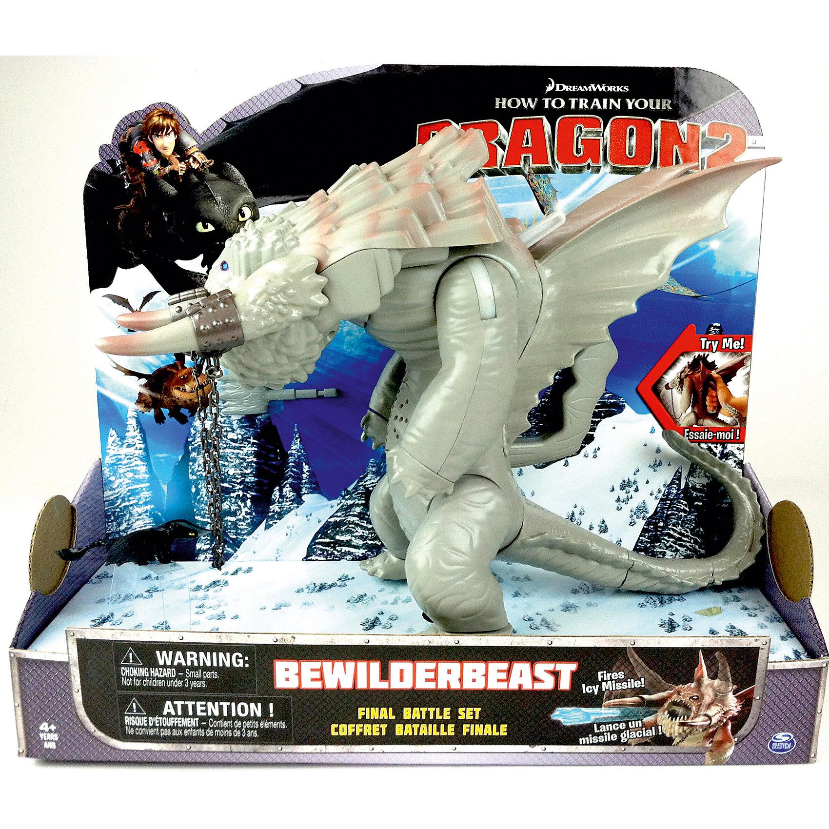 Большой ледяной дракон (Как приручить дракона 2), Spin Master, 66566/20063228Драконы и динозавры<br>Большой ледяной дракон (Как приручить дракона 2), Spin Master (Спин Мастер) встречается в финальной битве мультфильма «Как приручить дракона 2»: большой монстр с двумя крупными бивнями сражается при помощи ледяных стрел, которые он молниеносно выпускает из своей пасти. На спине у большого дракона расположена ручка, чтобы управлять им. Дракон может поднимать голову и передние лапы, а также выпускать стрелы из пасти. При этом дракон будет издавать соответствующие звуки (топот, рычание, свист ледяных стрел).   Дополнительная информация:  -Комплектация: 1 фигурка дракона высотой приблизительно 30 см, 1 фигурка Беззубика  -Игрушка работает от 3-х батареек типа ААA (нет в комплекте) -Материал: пластик  Устрой битву добрых драконов с ледяным драконом, как в мультфильме!  Большого ледяного дракона (Как приручить дракона 2), Spin Master (Спин Мастер) можно купить  в нашем магазине.<br><br>Ширина мм: 127<br>Глубина мм: 362<br>Высота мм: 308<br>Вес г: 763<br>Возраст от месяцев: 48<br>Возраст до месяцев: 96<br>Пол: Мужской<br>Возраст: Детский<br>SKU: 4836016