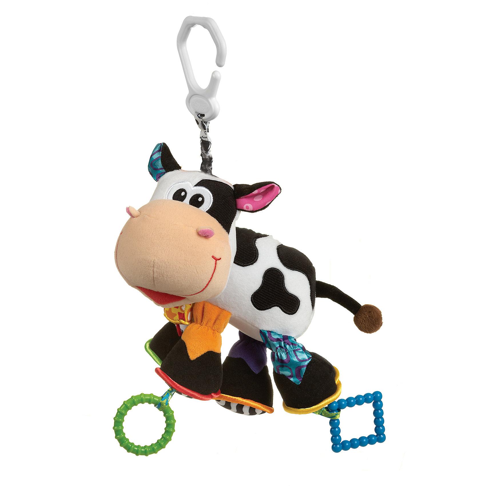 Игрушка-подвеска КороваПодвески<br>Игрушка-подвеска Корова<br><br>Характеристики:<br><br>• Материал: текстиль<br>• Возраст: от 0 месяцев<br>• Крепление: прищепка<br><br>Мягкая игрушка сделана из качественного и безопасного материала, который не вредит ребенку. В лапках и ушках собачки специальное наполнение, которое шуршит, если их трогать. Прищепка надежно крепится на коляску или за бортик кроватки. Если потянуть игрушку на себя, то возвращаясь к прищепке, она будет забавно вибрировать. Игрушка поможет малышу развлечься и развить моторику рук.<br><br>Игрушка-подвеска Корова можно купить в нашем интернет-магазине.<br><br>Ширина мм: 200<br>Глубина мм: 180<br>Высота мм: 100<br>Вес г: 150<br>Возраст от месяцев: 0<br>Возраст до месяцев: 12<br>Пол: Унисекс<br>Возраст: Детский<br>SKU: 4837595