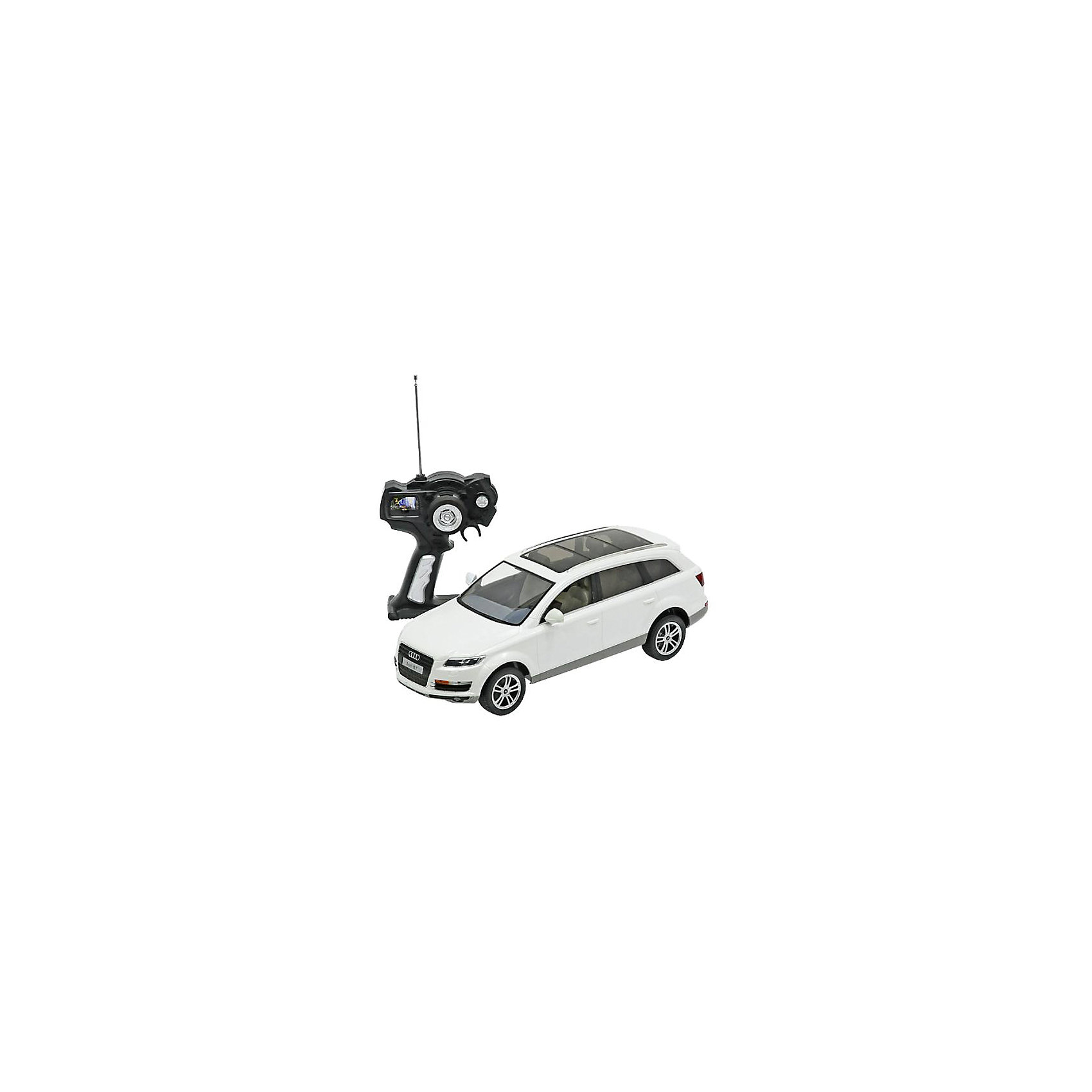 Машина AUDI Q7 1:14, свет, на р/у, RASTAR, белыйРадиоуправляемая модель автомобиля Audi Q7 от Rastar выполнена в масштабе 1:14 из металла с пластмассовыми деталями — точная копия оригинального автомобиля. Автомобиль может двигаться вперед, назад, влево, вправо со скоростью до 12 км/ч. При движении вперед у автомобиля светятся фары. Радиус управления игрушкой до 35 метров.  При игре с автомобилем отлично развиваются логическое мышление и  координация движений.  Радиоуправляемая машина Audi Q7 от Rastar обрадует любого мальчишку!  Дополнительная информация:  - Пульт радиоуправления на частоте 27MHz. - Материал: металл, высококачественная пластмасса - Размеры упаковки(ДхШхВ): 22 x 46 x 20 см - Размеры автомобиля(ДхШхВ):  36x14x12 см - Батарейки: 5 х АА, 1 х «Крона». В комплект не входят. - Вес: 1,58 кг  Машину AUDI Q7 1:14, свет, на р/у, RASTAR можно купить в нашем интернет-магазине.<br><br>Ширина мм: 200<br>Глубина мм: 220<br>Высота мм: 460<br>Вес г: 1580<br>Возраст от месяцев: 36<br>Возраст до месяцев: 144<br>Пол: Мужской<br>Возраст: Детский<br>SKU: 4838260