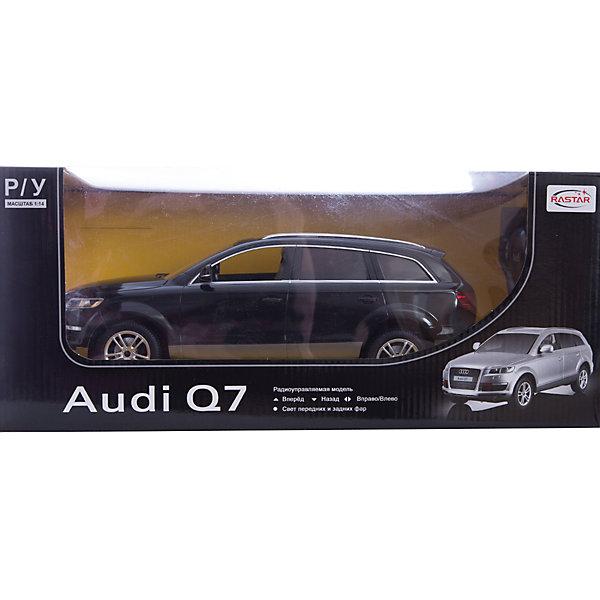 Машина AUDI Q7 1:14, свет, на р/у, RASTAR, черныйРадиоуправляемые машины<br>Радиоуправляемая модель автомобиля Audi Q7 от Rastar выполнена в масштабе 1:14 из металла с пластмассовыми деталями — точная копия оригинального автомобиля. Автомобиль может двигаться вперед, назад, влево, вправо со скоростью до 12 км/ч. При движении вперед у автомобиля светятся фары. Радиус управления игрушкой до 35 метров.  При игре с автомобилем отлично развиваются логическое мышление и  координация движений.  Радиоуправляемая машина Audi Q7 от Rastar обрадует любого мальчишку!  Дополнительная информация:  - Пульт радиоуправления на частоте 27MHz. - Материал: металл, высококачественная пластмасса - Размеры упаковки(ДхШхВ): 22 x 46 x 20 см - Размеры автомобиля(ДхШхВ):  36x14x12 см - Батарейки: 5 х АА, 1 х «Крона». В комплект не входят. - Вес: 1,58 кг  Машину AUDI Q7 1:14, свет, на р/у, RASTAR можно купить в нашем интернет-магазине.<br><br>Ширина мм: 200<br>Глубина мм: 220<br>Высота мм: 460<br>Вес г: 1580<br>Возраст от месяцев: 36<br>Возраст до месяцев: 144<br>Пол: Мужской<br>Возраст: Детский<br>SKU: 4838261