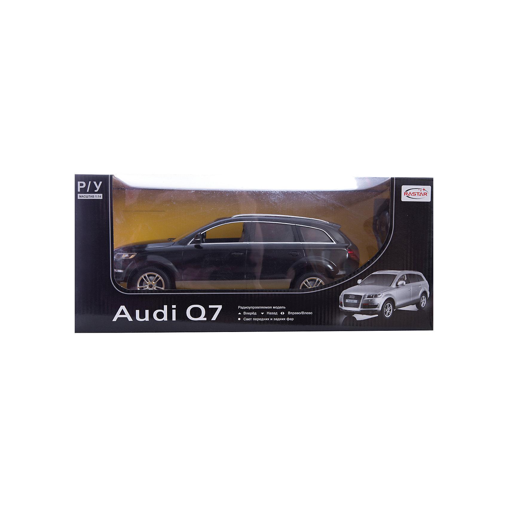 Машина AUDI Q7 1:14, свет, на р/у, RASTAR, черныйКоллекционные модели<br>Радиоуправляемая модель автомобиля Audi Q7 от Rastar выполнена в масштабе 1:14 из металла с пластмассовыми деталями — точная копия оригинального автомобиля. Автомобиль может двигаться вперед, назад, влево, вправо со скоростью до 12 км/ч. При движении вперед у автомобиля светятся фары. Радиус управления игрушкой до 35 метров.  При игре с автомобилем отлично развиваются логическое мышление и  координация движений.  Радиоуправляемая машина Audi Q7 от Rastar обрадует любого мальчишку!  Дополнительная информация:  - Пульт радиоуправления на частоте 27MHz. - Материал: металл, высококачественная пластмасса - Размеры упаковки(ДхШхВ): 22 x 46 x 20 см - Размеры автомобиля(ДхШхВ):  36x14x12 см - Батарейки: 5 х АА, 1 х «Крона». В комплект не входят. - Вес: 1,58 кг  Машину AUDI Q7 1:14, свет, на р/у, RASTAR можно купить в нашем интернет-магазине.<br><br>Ширина мм: 200<br>Глубина мм: 220<br>Высота мм: 460<br>Вес г: 1580<br>Возраст от месяцев: 36<br>Возраст до месяцев: 144<br>Пол: Мужской<br>Возраст: Детский<br>SKU: 4838261