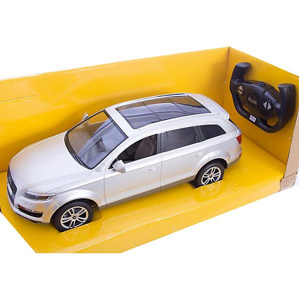 Машина AUDI Q7 1:14, свет, на р/у, RASTAR, серебристыйРадиоуправляемые машины<br>Радиоуправляемая модель автомобиля Audi Q7 от Rastar выполнена в масштабе 1:14 из металла с пластмассовыми деталями — точная копия оригинального автомобиля. Автомобиль может двигаться вперед, назад, влево, вправо со скоростью до 12 км/ч. При движении вперед у автомобиля светятся фары. Радиус управления игрушкой до 35 метров.  При игре с автомобилем отлично развиваются логическое мышление и  координация движений.  Радиоуправляемая машина Audi Q7 от Rastar обрадует любого мальчишку!  Дополнительная информация:  - Пульт радиоуправления на частоте 27MHz. - Материал: металл, высококачественная пластмасса - Размеры упаковки(ДхШхВ): 22 x 46 x 20 см - Размеры автомобиля(ДхШхВ):  36x14x12 см - Батарейки: 5 х АА, 1 х «Крона». В комплект не входят. - Вес: 1,58 кг  Машину AUDI Q7 1:14, свет, на р/у, RASTAR можно купить в нашем интернет-магазине.<br><br>Ширина мм: 200<br>Глубина мм: 220<br>Высота мм: 460<br>Вес г: 1580<br>Возраст от месяцев: 36<br>Возраст до месяцев: 144<br>Пол: Мужской<br>Возраст: Детский<br>SKU: 4838262