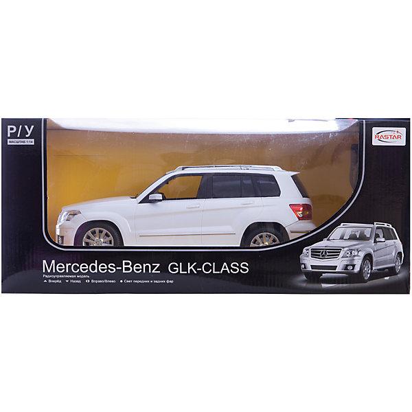 Машина MERCEDES GLK, 1:14, со светом, р/у, RASTAR, белыйРадиоуправляемые машины<br>Стильный и мощный внедорожник, выполненный в масштабе 1:18 приведет в восторг любого мальчишку! Машина прекрасно детализирована, очень похожа на настоящий автомобиль, развивает скорость до 7 км/ч. Модель имеет четыре направления движения: вперед, назад, вправо и влево, работающие  задние огни и стоп-сигналы.   Дополнительная информация:  - Материал: пластик, металл. - Размер: 33,4 x 13,3 x 13,8 см.  - Максимальная скорость 7 км/ч. - Время непрерывной работы: 40 мин. - Масштаб: 1:14. - Комплектация: машинка; пульт управления. - Звуковые и световые эффекты. - Элемент питания: 5 ААА батареек, 1 крона (в комплект не входят). - Дистанция управления: до 45 м. Машину MERCEDES GLK, 1:14, со светом, р/у, RASTAR можно купить в нашем магазине.<br><br>Ширина мм: 220<br>Глубина мм: 460<br>Высота мм: 200<br>Вес г: 1450<br>Возраст от месяцев: 36<br>Возраст до месяцев: 144<br>Пол: Мужской<br>Возраст: Детский<br>SKU: 4838263