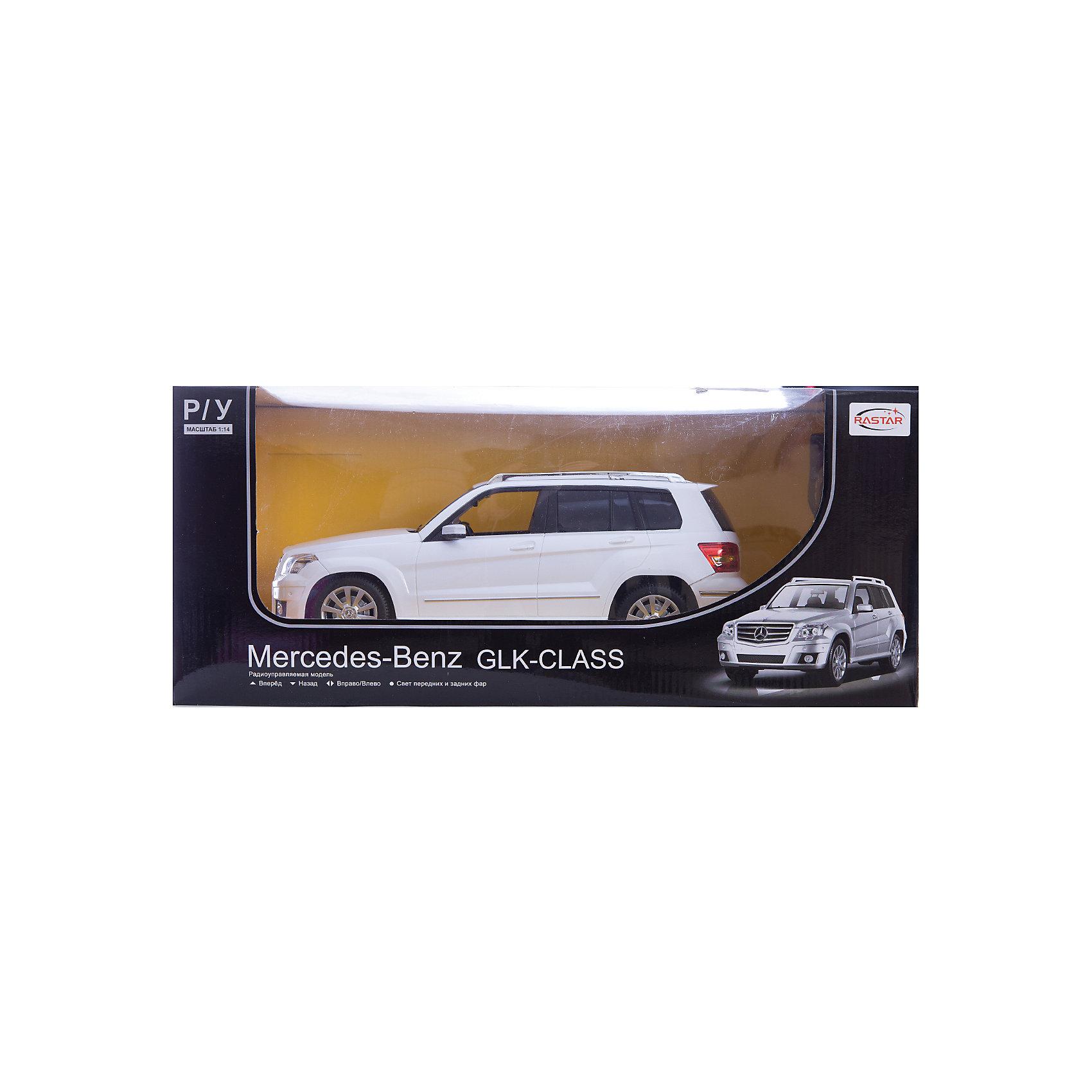 Машина MERCEDES GLK, 1:14, со светом, р/у, RASTAR, белыйМашинки<br>Стильный и мощный внедорожник, выполненный в масштабе 1:18 приведет в восторг любого мальчишку! Машина прекрасно детализирована, очень похожа на настоящий автомобиль, развивает скорость до 7 км/ч. Модель имеет четыре направления движения: вперед, назад, вправо и влево, работающие  задние огни и стоп-сигналы.   Дополнительная информация:  - Материал: пластик, металл. - Размер: 33,4 x 13,3 x 13,8 см.  - Максимальная скорость 7 км/ч. - Время непрерывной работы: 40 мин. - Масштаб: 1:14. - Комплектация: машинка; пульт управления. - Звуковые и световые эффекты. - Элемент питания: 5 ААА батареек, 1 крона (в комплект не входят). - Дистанция управления: до 45 м. Машину MERCEDES GLK, 1:14, со светом, р/у, RASTAR можно купить в нашем магазине.<br><br>Ширина мм: 220<br>Глубина мм: 460<br>Высота мм: 200<br>Вес г: 1450<br>Возраст от месяцев: 36<br>Возраст до месяцев: 144<br>Пол: Мужской<br>Возраст: Детский<br>SKU: 4838263
