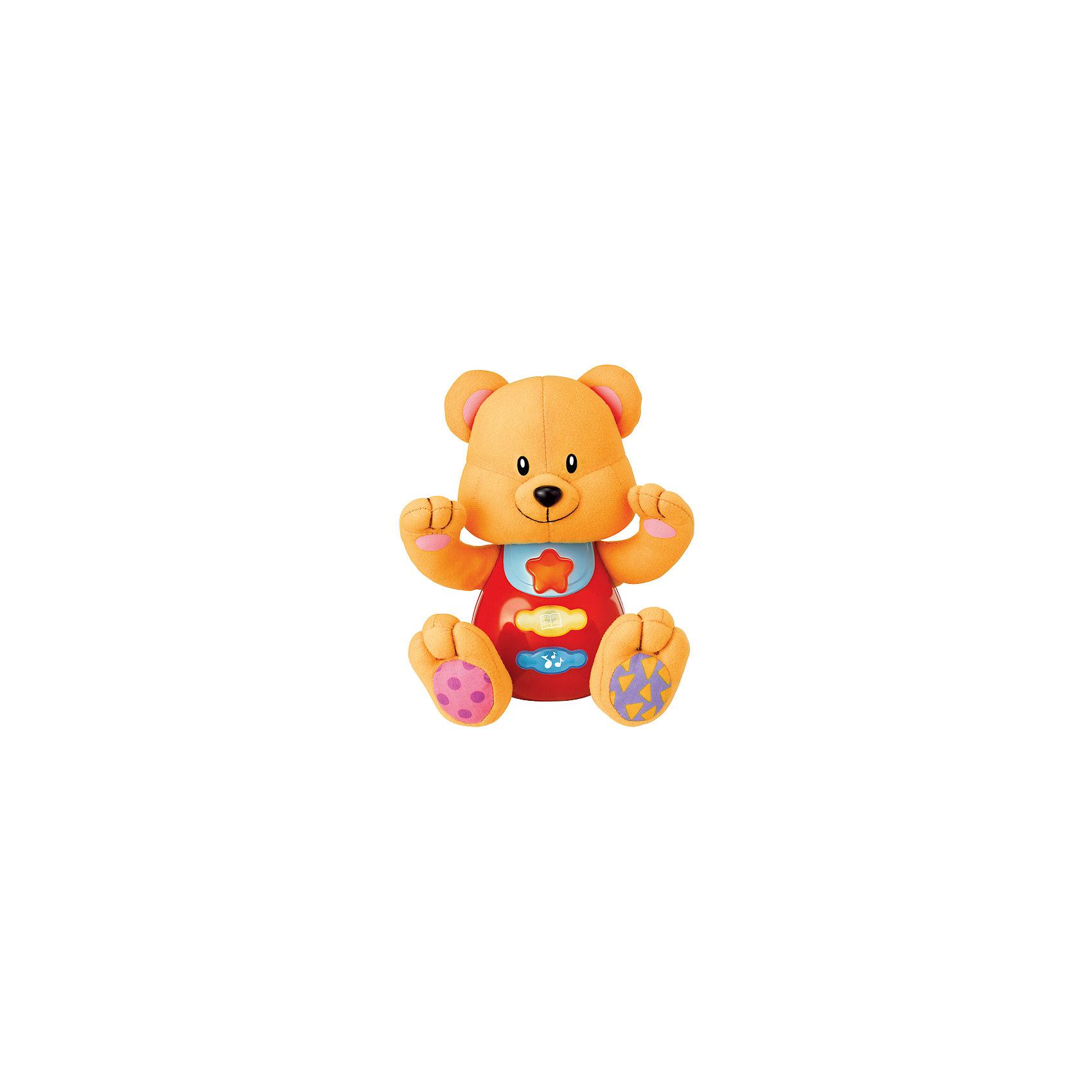 Обучающая игрушка Стихи А.Барто - Медведь, со светом и звуком, УмкаОбучающая игрушка Стихи А.Барто, со светом и звуком, Умка – это увлекательный, развивающий подарок для Вашего малыша. Обучающий забавный зверек познакомит ребёнка с добрыми детскими стишками и песенкой. На животике расположены три кнопки. При нажатии на одну из них малыш услышит песенку От улыбки. При нажатии на вторую - 6 приятных мелодий. При нажатии на кнопку с книжкой поочередно прозвучат 5 замечательных стихотворений А. Барто из серии Игрушки (Бычок, Зайка, Лошадка, Слон, Мишка). Все стихи и песенки сопровождаются световыми эффектами. Голова и лапки у игрушек мягкие с шуршащими вставками для развития тактильных ощущений. Туловище изготовлено из высококачественной пластмассы. Игрушка отлично способствует развитию памяти, логики, визуального и слухового восприятия, моторики.  Дополнительная информация:  - Игрушка работает от 2 батареек типа АА (входят в комплект) - Размер медвежонка: 16 х 18 х 8 см. - Размер упаковки: 20 х 21,5 х 11 см. Обучающую игрушку Стихи А.Барто, со светом и звуком, Умка можно купить в нашем интернет-магазине.<br><br>Ширина мм: 120<br>Глубина мм: 220<br>Высота мм: 210<br>Вес г: 470<br>Возраст от месяцев: 6<br>Возраст до месяцев: 60<br>Пол: Унисекс<br>Возраст: Детский<br>SKU: 4838276