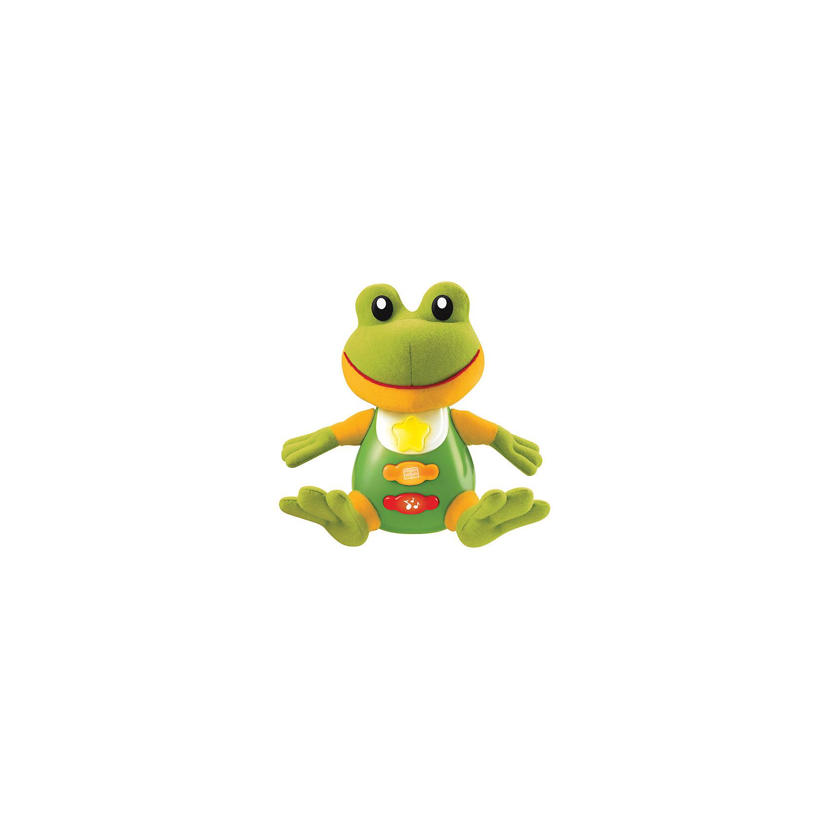 Обучающая игрушка Стихи А.Барто, Лягушка, со светом и звуком, УмкаОбучающая игрушка Стихи А.Барто, со светом и звуком, Умка – это увлекательный, развивающий подарок для Вашего малыша. Обучающий забавный зверек познакомит ребёнка с добрыми детскими стишками и песенкой. На животике расположены три кнопки. При нажатии на одну из них малыш услышит песенку От улыбки. При нажатии на вторую - 6 приятных мелодий. При нажатии на кнопку с книжкой поочередно прозвучат 5 замечательных стихотворений А. Барто из серии Игрушки (Бычок, Зайка, Лошадка, Слон, Мишка). Все стихи и песенки сопровождаются световыми эффектами. Голова и лапки у игрушек мягкие с шуршащими вставками для развития тактильных ощущений. Туловище изготовлено из высококачественной пластмассы. Игрушка отлично способствует развитию памяти, логики, визуального и слухового восприятия, моторики.  Дополнительная информация:  - Игрушка работает от 2 батареек типа АА (входят в комплект) - Размер медвежонка: 16 х 18 х 8 см. - Размер упаковки: 20 х 21,5 х 11 см. Обучающую игрушку Стихи А.Барто, со светом и звуком, Умка можно купить в нашем интернет-магазине.<br><br>Ширина мм: 120<br>Глубина мм: 220<br>Высота мм: 210<br>Вес г: 470<br>Возраст от месяцев: 6<br>Возраст до месяцев: 60<br>Пол: Унисекс<br>Возраст: Детский<br>SKU: 4838278