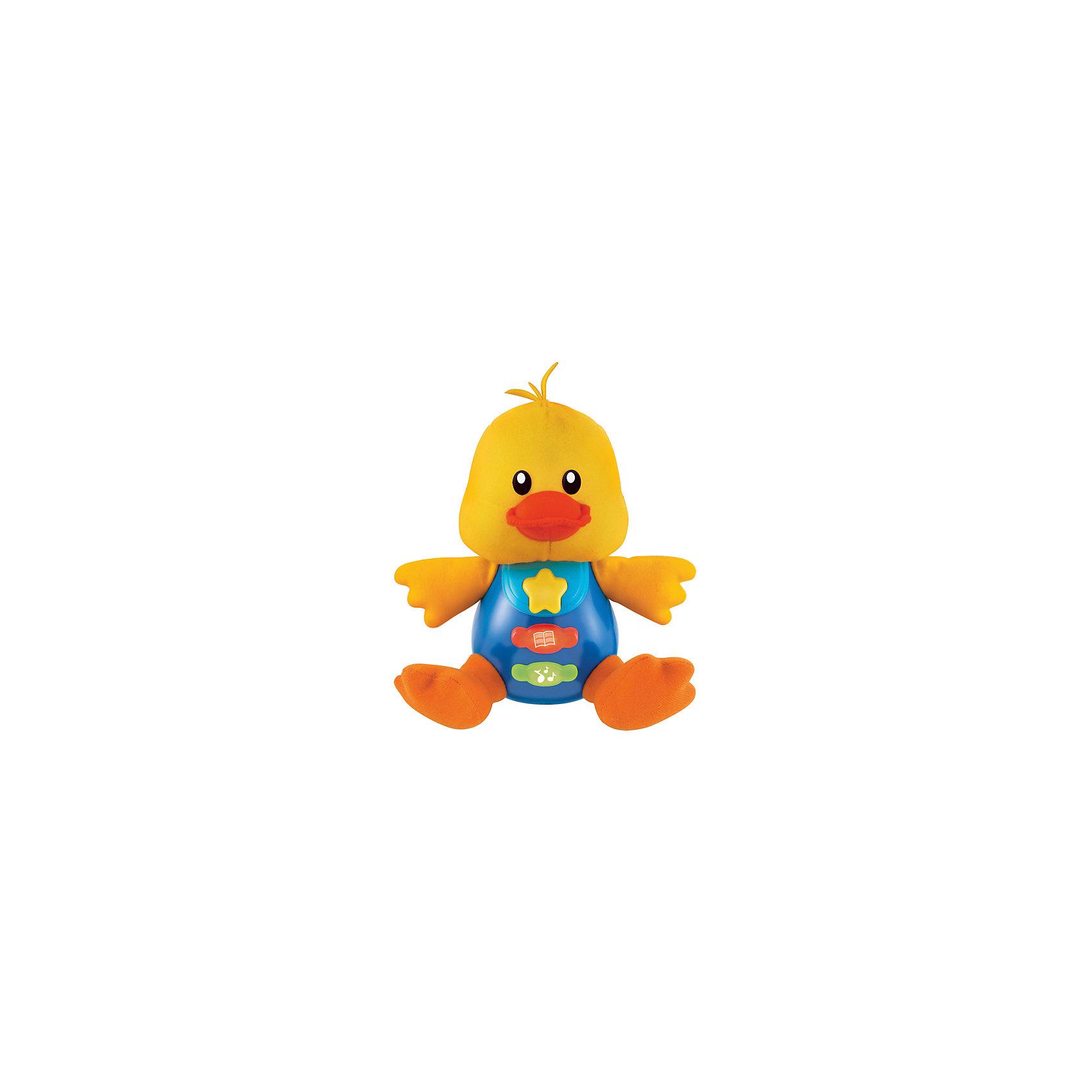 Обучающая игрушка Стихи А.Барто, Утенок, со светом и звуком, УмкаОбучающая игрушка Стихи А.Барто, со светом и звуком, Умка – это увлекательный, развивающий подарок для Вашего малыша. Обучающий забавный зверек познакомит ребёнка с добрыми детскими стишками и песенкой. На животике расположены три кнопки. При нажатии на одну из них малыш услышит песенку От улыбки. При нажатии на вторую - 6 приятных мелодий. При нажатии на кнопку с книжкой поочередно прозвучат 5 замечательных стихотворений А. Барто из серии Игрушки (Бычок, Зайка, Лошадка, Слон, Мишка). Все стихи и песенки сопровождаются световыми эффектами. Голова и лапки у игрушек мягкие с шуршащими вставками для развития тактильных ощущений. Туловище изготовлено из высококачественной пластмассы. Игрушка отлично способствует развитию памяти, логики, визуального и слухового восприятия, моторики.  Дополнительная информация:  - Игрушка работает от 2 батареек типа АА (входят в комплект) - Размер медвежонка: 16 х 18 х 8 см. - Размер упаковки: 20 х 21,5 х 11 см. Обучающую игрушку Стихи А.Барто, со светом и звуком, Умка можно купить в нашем интернет-магазине.<br><br>Ширина мм: 120<br>Глубина мм: 220<br>Высота мм: 210<br>Вес г: 470<br>Возраст от месяцев: 6<br>Возраст до месяцев: 60<br>Пол: Унисекс<br>Возраст: Детский<br>SKU: 4838280