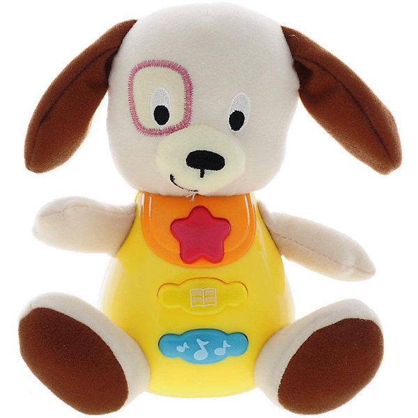 Обучающая игрушка Стихи М. Дружининой, Щенок, песня из мультфильма, УмкаИнтерактивные игрушки для малышей<br>Обучающая игрушка Стихи А.Барто, со светом и звуком, Умка – это увлекательный, развивающий подарок для Вашего малыша. Обучающий забавный зверек познакомит ребёнка с добрыми детскими стишками и песенкой. На животике расположены три кнопки. При нажатии на одну из них малыш услышит песенку От улыбки. При нажатии на вторую - 6 приятных мелодий. При нажатии на кнопку с книжкой поочередно прозвучат 5 замечательных стихотворений А. Барто из серии Игрушки (Бычок, Зайка, Лошадка, Слон, Мишка). Все стихи и песенки сопровождаются световыми эффектами. Голова и лапки у игрушек мягкие с шуршащими вставками для развития тактильных ощущений. Туловище изготовлено из высококачественной пластмассы. Игрушка отлично способствует развитию памяти, логики, визуального и слухового восприятия, моторики.  Дополнительная информация:  - Игрушка работает от 2 батареек типа АА (входят в комплект) - Размер медвежонка: 16 х 18 х 8 см. - Размер упаковки: 20 х 21,5 х 11 см. Обучающую игрушку Стихи А.Барто, со светом и звуком, Умка можно купить в нашем интернет-магазине.<br>Ширина мм: 380; Глубина мм: 430; Высота мм: 460; Вес г: 520; Возраст от месяцев: 12; Возраст до месяцев: 48; Пол: Унисекс; Возраст: Детский; SKU: 4838281;