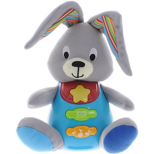 Обучающая игрушка Стихи М. Дружининой, Кролик, песня из мультфильма, УмкаИнтерактивные мягкие игрушки<br>Обучающая игрушка Стихи А.Барто, со светом и звуком, Умка – это увлекательный, развивающий подарок для Вашего малыша. Обучающий забавный зверек познакомит ребёнка с добрыми детскими стишками и песенкой. На животике расположены три кнопки. При нажатии на одну из них малыш услышит песенку От улыбки. При нажатии на вторую - 6 приятных мелодий. При нажатии на кнопку с книжкой поочередно прозвучат 5 замечательных стихотворений А. Барто из серии Игрушки (Бычок, Зайка, Лошадка, Слон, Мишка). Все стихи и песенки сопровождаются световыми эффектами. Голова и лапки у игрушек мягкие с шуршащими вставками для развития тактильных ощущений. Туловище изготовлено из высококачественной пластмассы. Игрушка отлично способствует развитию памяти, логики, визуального и слухового восприятия, моторики.  Дополнительная информация:  - Игрушка работает от 2 батареек типа АА (входят в комплект) - Размер медвежонка: 16 х 18 х 8 см. - Размер упаковки: 20 х 21,5 х 11 см. Обучающую игрушку Стихи А.Барто, со светом и звуком, Умка можно купить в нашем интернет-магазине.<br>Ширина мм: 380; Глубина мм: 430; Высота мм: 460; Вес г: 520; Возраст от месяцев: 12; Возраст до месяцев: 48; Пол: Унисекс; Возраст: Детский; SKU: 4838283;