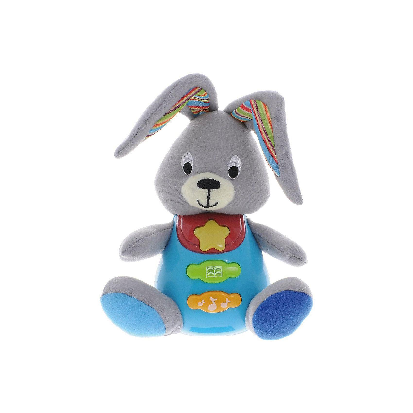 Обучающая игрушка Стихи М. Дружининой, Кролик, песня из мультфильма, УмкаОбучающая игрушка Стихи А.Барто, со светом и звуком, Умка – это увлекательный, развивающий подарок для Вашего малыша. Обучающий забавный зверек познакомит ребёнка с добрыми детскими стишками и песенкой. На животике расположены три кнопки. При нажатии на одну из них малыш услышит песенку От улыбки. При нажатии на вторую - 6 приятных мелодий. При нажатии на кнопку с книжкой поочередно прозвучат 5 замечательных стихотворений А. Барто из серии Игрушки (Бычок, Зайка, Лошадка, Слон, Мишка). Все стихи и песенки сопровождаются световыми эффектами. Голова и лапки у игрушек мягкие с шуршащими вставками для развития тактильных ощущений. Туловище изготовлено из высококачественной пластмассы. Игрушка отлично способствует развитию памяти, логики, визуального и слухового восприятия, моторики.  Дополнительная информация:  - Игрушка работает от 2 батареек типа АА (входят в комплект) - Размер медвежонка: 16 х 18 х 8 см. - Размер упаковки: 20 х 21,5 х 11 см. Обучающую игрушку Стихи А.Барто, со светом и звуком, Умка можно купить в нашем интернет-магазине.<br><br>Ширина мм: 380<br>Глубина мм: 430<br>Высота мм: 460<br>Вес г: 520<br>Возраст от месяцев: 12<br>Возраст до месяцев: 48<br>Пол: Унисекс<br>Возраст: Детский<br>SKU: 4838283
