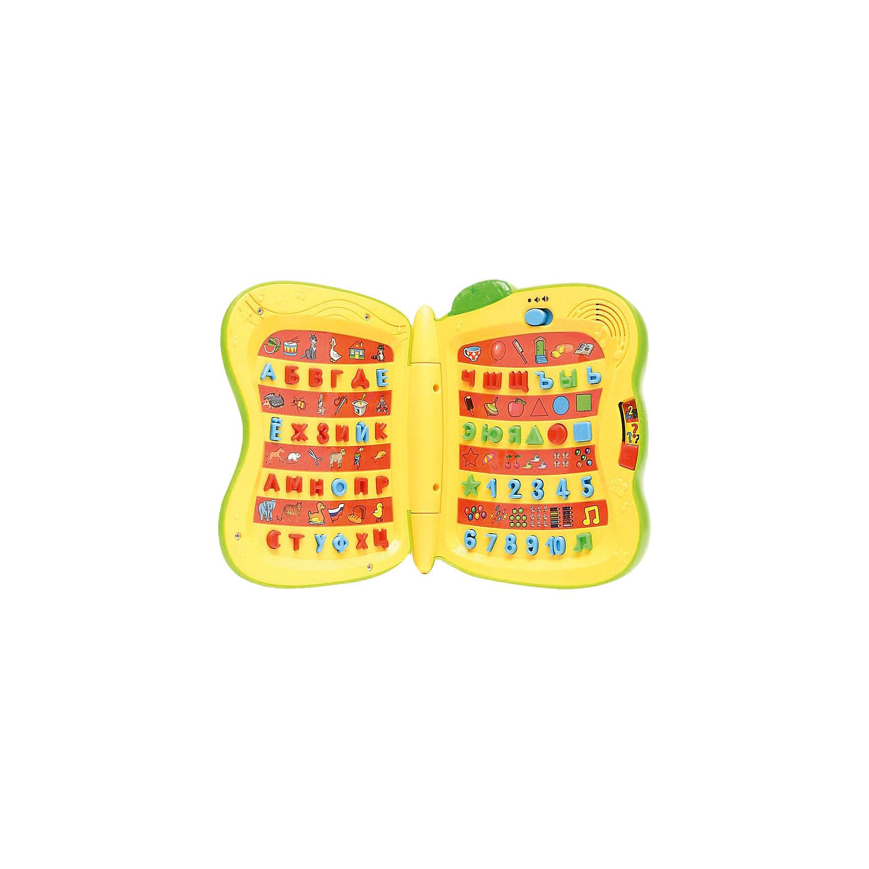Обучающая книга Винни-Пуха, со светом и звуком, 9 программ, Умка, ЗеленыйОбучающая книга Винни-Пуха, со светом и звуком - кладезь знаний и увлекательное пособие для малышей. Книжка яркая и озвучена профессиональными актерами! В режиме «обучение», ребёнок услышит названия цифр, фигур и букв. В режиме «экзамен», малыш закрепит полученные знания. В режиме «стихи», ребёнок услышит стихотворения, которые помогут лучше усвоить знания. А песенка из любимого мультфильма про Винни Пуха поможет развлечься! Игрушка способствует развитию речи, внимания, памяти, визуального и слухового восприятия.  Играй, учись, развивайся!  Дополнительная информация:  - 9 обучающих программ; - 47 стихотворений про буквы, цифры, фигуры; - В игровой форме поможет выучить: буквы, цифры, слова, звуки, фигуры, вопросы, ноты; - Яркий дизайн; - Понравится поклонникам мультфильма про Винни Пуха; - Световые кнопки; - Озвучена профессиональными актерами; - Батарейки 3 х АА входят в комплект; - Размер игрушки: 30 х 17,5 х 2 см; - Вес: 740 г   Обучающую книгу Винни-Пуха, со светом и звуком, 9 программ, Умка можно купить в нашем интернет-магазине.<br><br>Ширина мм: 250<br>Глубина мм: 340<br>Высота мм: 60<br>Вес г: 742<br>Возраст от месяцев: 12<br>Возраст до месяцев: 60<br>Пол: Унисекс<br>Возраст: Детский<br>SKU: 4838286