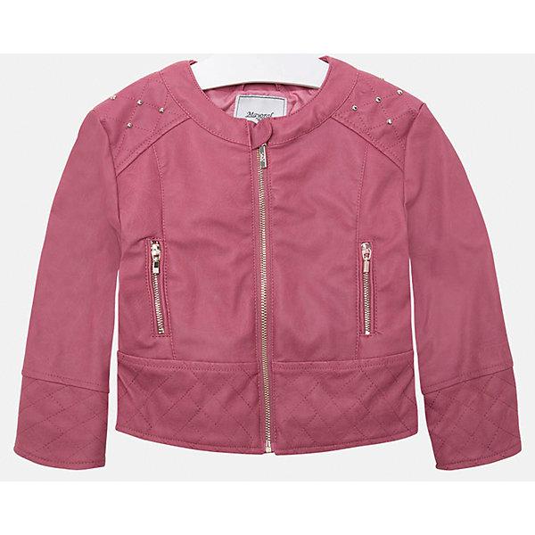 Куртка для девочки MayoralВерхняя одежда<br>Куртка для девочки от Mayoral(Майорал) изготовлена из кожзаменителя с подкладкой из полиэстера. Модель с округлым воротом, застегивается на молнию, есть 2 кармана на молнии по бокам. Украшена стразами на плечах. Такая стильная куртка замечательно будет смотреться на девочке!<br><br>Дополнительная информация:<br>Состав: 100% полиуретан. Подкладка: 100% полиэстер<br>Цвет: розовый<br>Куртку Mayoral(Майорал) вы можете приобрести в нашем интернет-магазине.<br>Ширина мм: 356; Глубина мм: 10; Высота мм: 245; Вес г: 519; Цвет: розовый; Возраст от месяцев: 24; Возраст до месяцев: 36; Пол: Женский; Возраст: Детский; Размер: 98,128,110,116,104,134,122; SKU: 4843752;