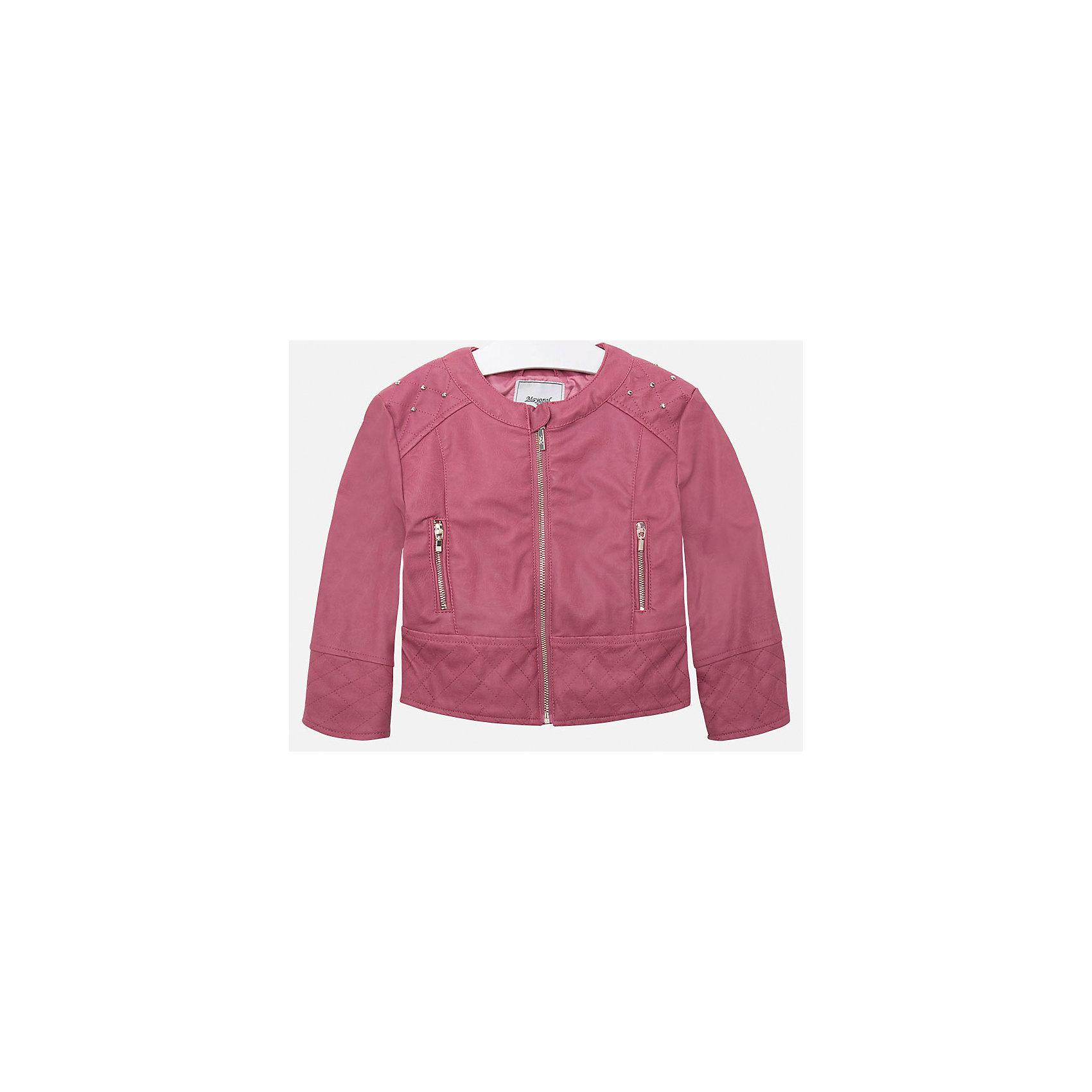 Куртка для девочки MayoralВерхняя одежда<br>Куртка для девочки от Mayoral(Майорал) изготовлена из кожзаменителя с подкладкой из полиэстера. Модель с округлым воротом, застегивается на молнию, есть 2 кармана на молнии по бокам. Украшена стразами на плечах. Такая стильная куртка замечательно будет смотреться на девочке!<br><br>Дополнительная информация:<br>Состав: 100% полиуретан. Подкладка: 100% полиэстер<br>Цвет: розовый<br>Куртку Mayoral(Майорал) вы можете приобрести в нашем интернет-магазине.<br><br>Ширина мм: 356<br>Глубина мм: 10<br>Высота мм: 245<br>Вес г: 519<br>Цвет: розовый<br>Возраст от месяцев: 24<br>Возраст до месяцев: 36<br>Пол: Женский<br>Возраст: Детский<br>Размер: 98,128,122,134,104,116,110<br>SKU: 4843752