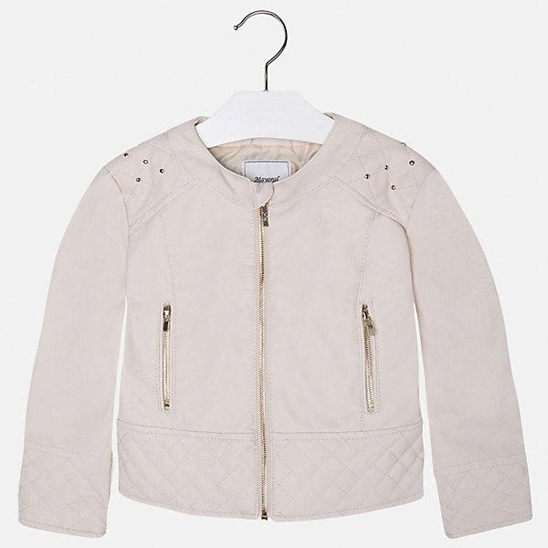 Куртка для девочки MayoralВерхняя одежда<br>Куртка для девочки от Mayoral(Майорал) изготовлена из кожзаменителя с подкладкой из полиэстера. Модель с округлым воротом, застегивается на молнию, есть 2 кармана на молнии по бокам. Украшена стразами на плечах. Такая стильная куртка замечательно будет смотреться на девочке!<br><br>Дополнительная информация:<br>Состав: 100% полиуретан. Подкладка: 100% полиэстер<br>Цвет: белый<br>Куртку Mayoral(Майорал) вы можете приобрести в нашем интернет-магазине.<br><br>Ширина мм: 356<br>Глубина мм: 10<br>Высота мм: 245<br>Вес г: 519<br>Цвет: желтый<br>Возраст от месяцев: 24<br>Возраст до месяцев: 36<br>Пол: Женский<br>Возраст: Детский<br>Размер: 98,122,134,116,110,128,104<br>SKU: 4843760