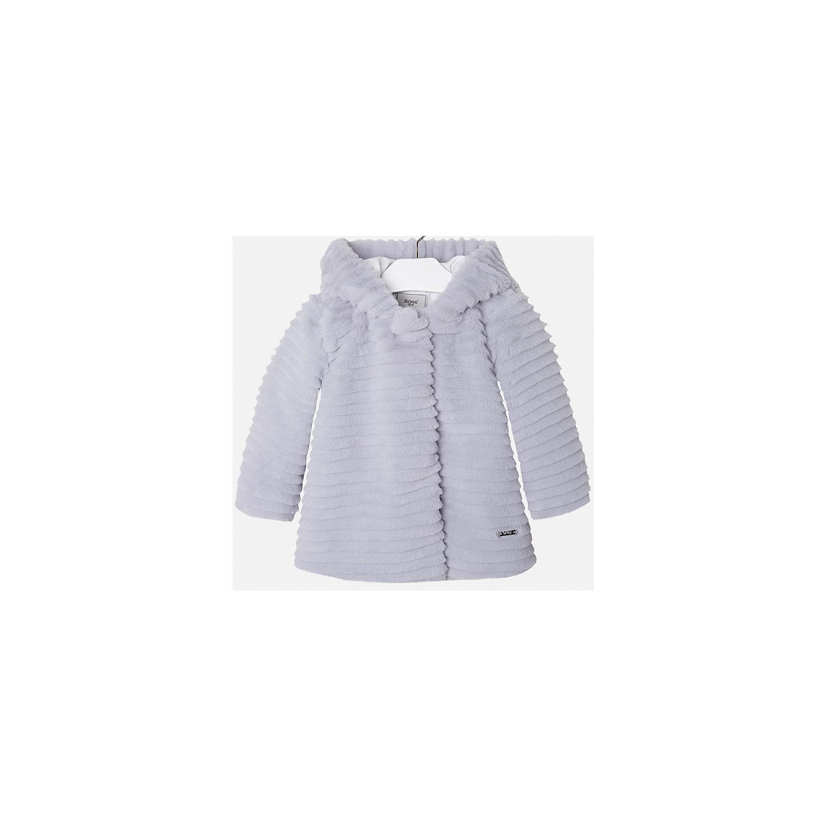 Куртка для девочки MayoralВерхняя одежда<br>Куртка из искусственного меха нежно-серого цвета торговой марки    Майорал -Mayoral для девочек. Стильная куртка прямого кроя из приятного на ощупь материала Изделие имеет легкое утепление синтепоном, прекрасно подойдет на прохладную осеннюю погоду. <br><br>Дополнительная информация: <br><br>- цвет: серый<br>- состав: полиэстер: 100%<br>- длина рукава: длинные<br>- фактура материала: меховой<br>- вид застежки: кнопки<br>- длина изделия: по спинке: 46 см<br>- покрой: прямой<br>- утеплитель: синтепон<br>- тип карманов: без карманов<br>- уход за вещами: бережная стирка при 30 градусах<br>- рисунок: без рисунка<br>- плотность: утеплителя: 0 г/кв.м<br>- назначение: повседневная<br>- характеристика утеплителя: fill power<br>- сезон: осень, зима, весна<br>- пол: девочки<br>- страна бренда: Испания<br>- страна производитель: Марокко<br>- комплектация: куртка<br><br>Куртку торговой марки    Майорал  можно купить в нашем интернет-магазине.<br><br>Ширина мм: 356<br>Глубина мм: 10<br>Высота мм: 245<br>Вес г: 519<br>Цвет: серый<br>Возраст от месяцев: 36<br>Возраст до месяцев: 48<br>Пол: Женский<br>Возраст: Детский<br>Размер: 104,134,122,98,128,116,110<br>SKU: 4843810