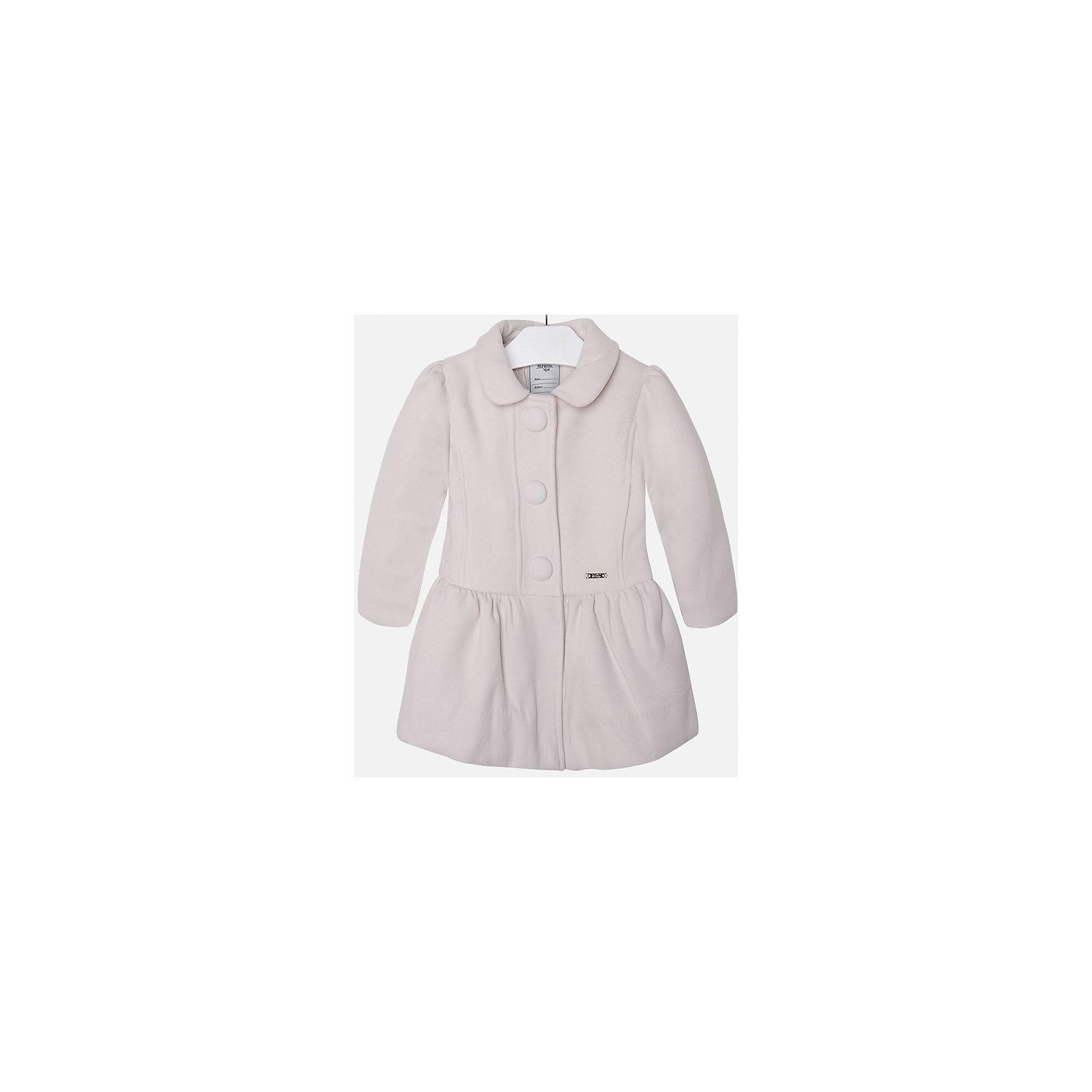Пальто для девочки MayoralВерхняя одежда<br>Пальто для девочки из коллекции осень-зима 2016-2017 известного испанского бренда Mayoral (Майорал). Стильное и удобное светло-бежевое пальто классического покроя. Приталенный силуэт, откидной воротничок и модные крупные пуговки придутся по вкусу вашей моднице. Пальто застегивается на молнию и содержит синтепон как утеплитель, карманы отсутствуют. Пальто имеет качественный крой и маленькую пластинку с наименованием бренда на лицевой стороне спереди.<br><br>Дополнительная информация:<br>- Длина: удлиненная <br>- Силуэт: приталенный; прямой <br>- Утеплитель: синтепон<br>Состав: полиэстер 90%,вискоза 8%,эластан 2%<br><br>Пальто для девочки Mayoral (Майорал) можно купить в нашем интернет-магазине.<br><br>Подробнее:<br>• Для детей в возрасте: от 5 до 12 лет<br>• Номер товара: 4843843 <br>Страна производитель: Китай<br><br>Ширина мм: 356<br>Глубина мм: 10<br>Высота мм: 245<br>Вес г: 519<br>Цвет: бежевый<br>Возраст от месяцев: 72<br>Возраст до месяцев: 84<br>Пол: Женский<br>Возраст: Детский<br>Размер: 122,98,134,104,128,110,116<br>SKU: 4843842