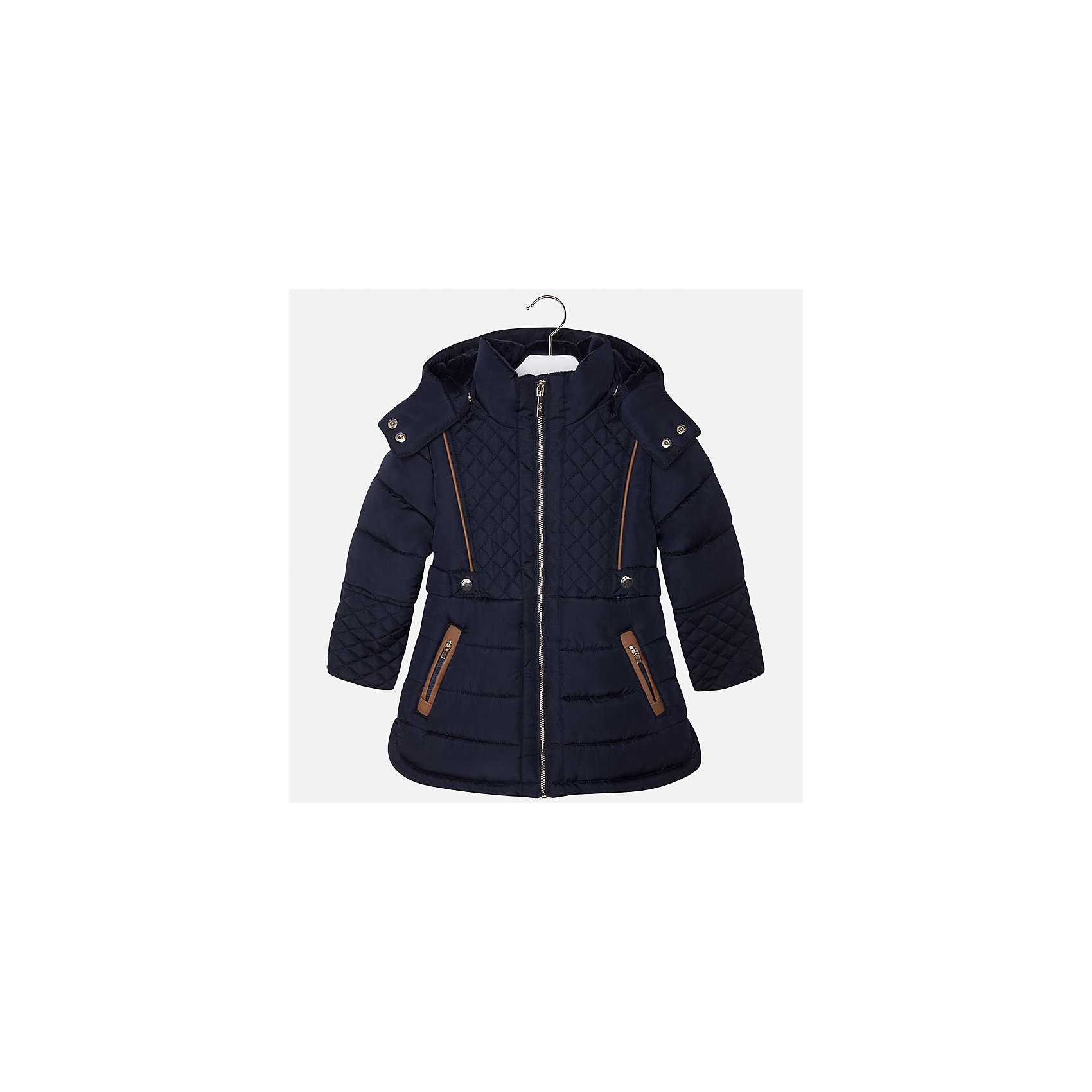 Куртка для девочки MayoralВерхняя одежда<br>Пальто для девочки из коллекции осень-зима 2016-2017 известного испанского бренда Mayoral (Майорал). Стильное и удобное темно-синее стеганое пальто с водооталкивающим покрытием. Приталенный силуэт, большой капюшон и модные бежевые детали отделки придутся по вкусу вашей моднице. Пальто застегивается на металлическую молнию и имеет два кармана на молниях. Пальто имеет качественный крой, капюшон пристегивается на кнопки, имеются разрезы в нижней части по бокам.<br><br>Дополнительная информация:<br>- Длина: удлиненная <br>- Силуэт: приталенный; прямой <br><br>Состав: 100% полиэстер <br><br>Пальто для девочки Mayoral (Майорал) можно купить в нашем интернет-магазине.<br><br>Подробнее:<br>• Для детей в возрасте: от 5 до 12 лет<br>• Номер товара: 4843851 <br>Страна производитель: Китай<br><br>Ширина мм: 356<br>Глубина мм: 10<br>Высота мм: 245<br>Вес г: 519<br>Цвет: синий<br>Возраст от месяцев: 36<br>Возраст до месяцев: 48<br>Пол: Женский<br>Возраст: Детский<br>Размер: 104,98,110,122,134,116,128<br>SKU: 4843850