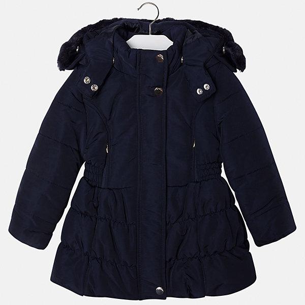 Куртка для девочки MayoralВерхняя одежда<br>Куртка для девочки от известной испанской марки Mayoral(майорал). Модель с приталенным и расширенным к низу силуэтом. Есть большой удобный капюшон с искусственным мехом, застегивается на кнопки. Стильная теплая курточка - то, что нужно для комфортных прогулок!<br><br>Дополнительная информация:<br>Состав: 100% полиэстер<br>Цвет: темно-синий<br>Куртку Mayoral(Майорал) вы можете приобрести в нашем интернет-магазине.<br><br>Ширина мм: 356<br>Глубина мм: 10<br>Высота мм: 245<br>Вес г: 519<br>Цвет: синий<br>Возраст от месяцев: 24<br>Возраст до месяцев: 36<br>Пол: Женский<br>Возраст: Детский<br>Размер: 98,116,110,104,134,122,128<br>SKU: 4843890