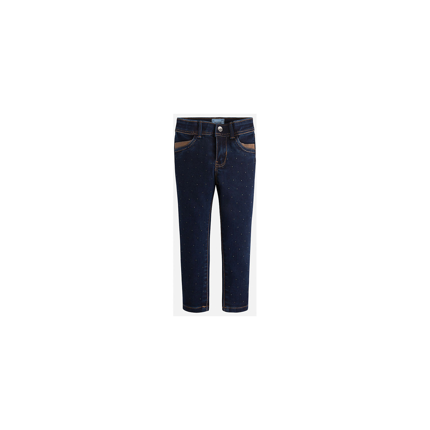 Джинсы для девочки MayoralДжинсовая одежда<br>Джинсы синие Mayoral для девочки с зауженными штанинами, заминами и потертостями выглядят стильно и модно. Модель с четырьмя функциональными карманами прекрасно сочетается с различными блузами, туниками и футболками. Джинсы застегиваются на металлическую пуговицу и молнию, на поясе выполнены шлевки для ремня. <br><br>Дополнительная инфориация:<br><br>- вид застежки: на молнии <br>- цвет: синий<br>- фактура материала: текстильный<br>- покрой: прямой<br>- состав: 78% хлопок;20% полиестер; 2% эластан     <br>- уход за вещами: бережная стирка при 30 градусах<br>- рисунок: без рисунка<br>- назначение: повседневная<br>- сезон: круглогодичный<br>- пол: девочки<br>- страна бренда: Испания<br>- страна производитель:  Бангладеш<br>- комплектация: джинсы<br><br>Джинсы торгов ой марки    Майорал можно купить в нашем интернет магазине<br><br>Ширина мм: 215<br>Глубина мм: 88<br>Высота мм: 191<br>Вес г: 336<br>Цвет: синий<br>Возраст от месяцев: 18<br>Возраст до месяцев: 24<br>Пол: Женский<br>Возраст: Детский<br>Размер: 92,116,134,98,104,128,110,122<br>SKU: 4843933