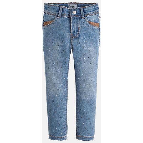 Джинсы для девочки MayoralДжинсы<br>Джинсы для девочки из коллекции осень-зима 2016-2017 известного испанского бренда Mayoral (Майорал). Джинсы на каждый день приятного джинсового светло-синего цвета. Полуоблегающий крой и стильные украшения в виде металлических крапинок придутся по вкусу вашей моднице. Джинсы имеют четыре кармана и заужены к низу.<br><br>Дополнительная информация:<br>- Силуэт прямой, зауженный к низу<br>Состав: хлопок 68%, полиэстер 20%, вискоза 10%, эластан 2%<br><br>Джинсы для девочки Mayoral (Майорал) можно купить в нашем интернет-магазине.<br>.<br>Подробнее:<br>• Для детей в возрасте: от 4  до 9 лет<br>• Номер товара: 4843943<br>Страна производитель: Индия<br><br>Ширина мм: 215<br>Глубина мм: 88<br>Высота мм: 191<br>Вес г: 336<br>Цвет: голубой<br>Возраст от месяцев: 18<br>Возраст до месяцев: 24<br>Пол: Женский<br>Возраст: Детский<br>Размер: 92,134,98,104,116,122,110,128<br>SKU: 4843942