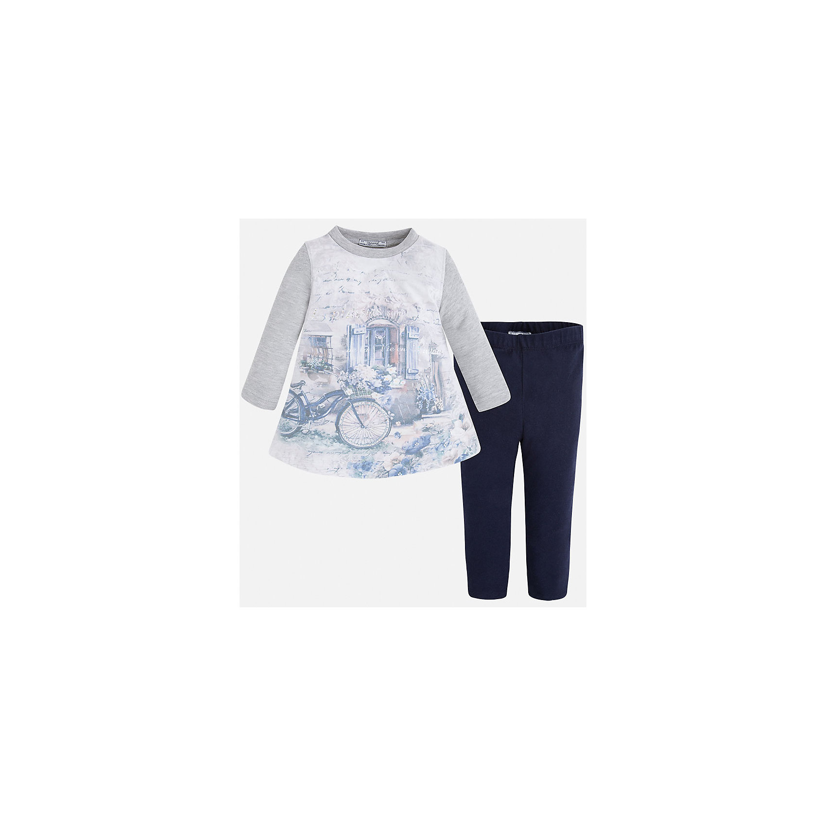 Комплект для девочки MayoralКомплект из свитера и леггинсов для девочки от популярного испанского бренда Mayoral(Майорал). Леггинсы имеют удобную резинку на поясе. Свитер с расширенным к низу силуэтом и округлым воротом украшен крупным принтом и стразами спереди. Удобный комплект создан специально для комфорта и стиля девочки!<br><br>Дополнительная информация:<br>Состав. Свитер: 49% хлопок, 38% полиэстер, 10% металлическое волокно, 3% эластан. Леггинсы: 95% хлопок, 5% эластан<br>Цвет: темно-синий/серый<br>Леггинсы и свитер Mayoral(майорал) можно приобрести в нашем интернет-магазине.<br><br>Ширина мм: 123<br>Глубина мм: 10<br>Высота мм: 149<br>Вес г: 209<br>Цвет: синий<br>Возраст от месяцев: 72<br>Возраст до месяцев: 84<br>Пол: Женский<br>Возраст: Детский<br>Размер: 122,110,98,116,104,128,134,92<br>SKU: 4843987