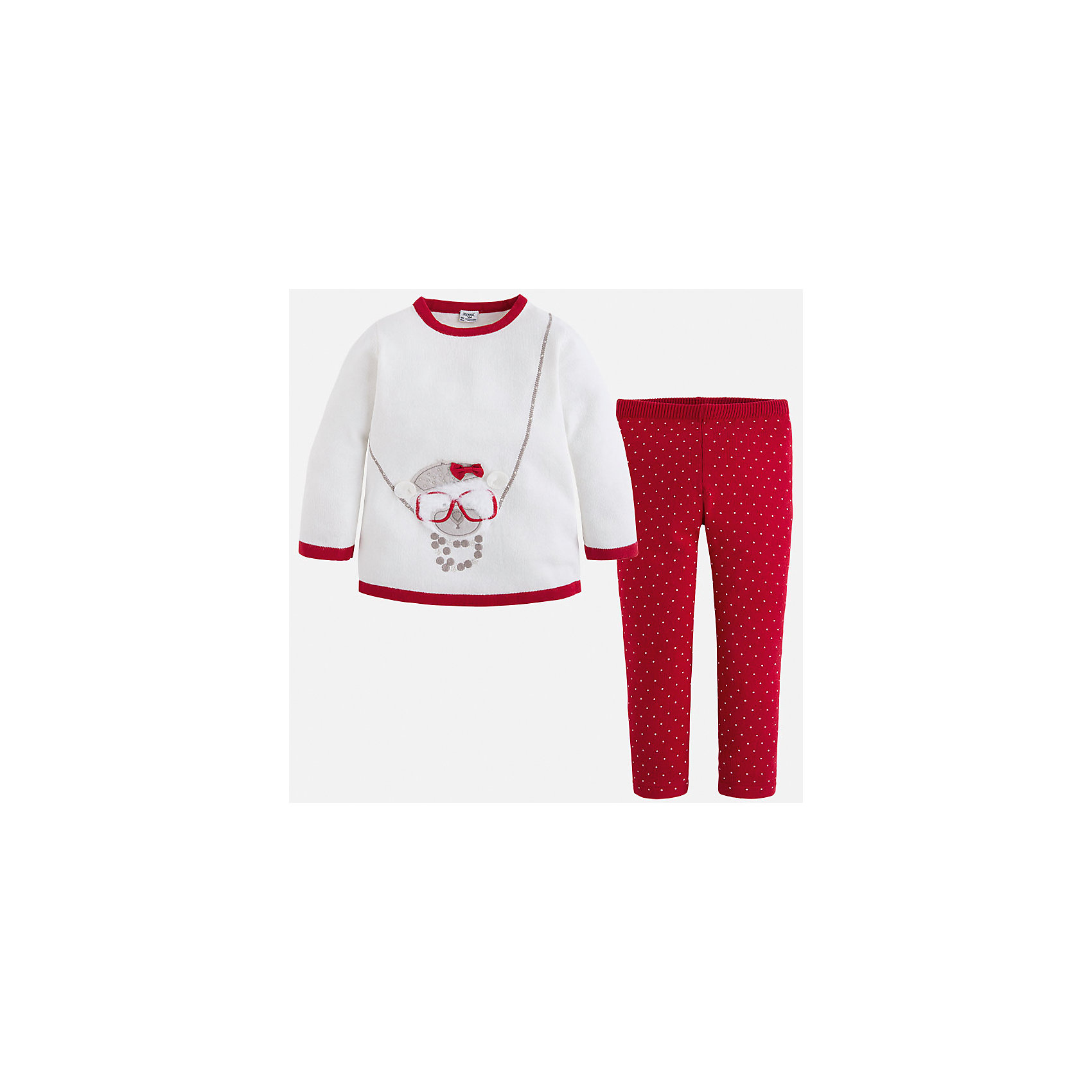 Комплект:футболка и леггинсы для девочки MayoralКомплект из футболки и леггинсов от испанского бренда Mayoral(Майорал) прекрасно подойдут маленькой моднице. Свитер из качественных материалов украшен милой аппликацией с мишкой и стразами. Леггинсы с приятной расцветкой в горошек. Отличный вариант для повседневной носки!<br>Дополнительная информация:<br>-украшен аппликацией и стразами<br>-цвет: красный/белый<br>-состав: 60% хлопок, 40% акрил<br>Комплект из футболки и леггинсов Mayoral(Майорал) можно купить в нашем интернет-магазине.<br><br>Ширина мм: 123<br>Глубина мм: 10<br>Высота мм: 149<br>Вес г: 209<br>Цвет: красный<br>Возраст от месяцев: 72<br>Возраст до месяцев: 84<br>Пол: Женский<br>Возраст: Детский<br>Размер: 110,92,104,122,98,116<br>SKU: 4844118