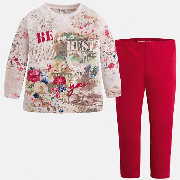 Купить Комплект для девочки: футболка и леггинсы для девочки Mayoral, Китай, красный, 110, 92, 128, 116, 122, 134, 104, 98, Женский