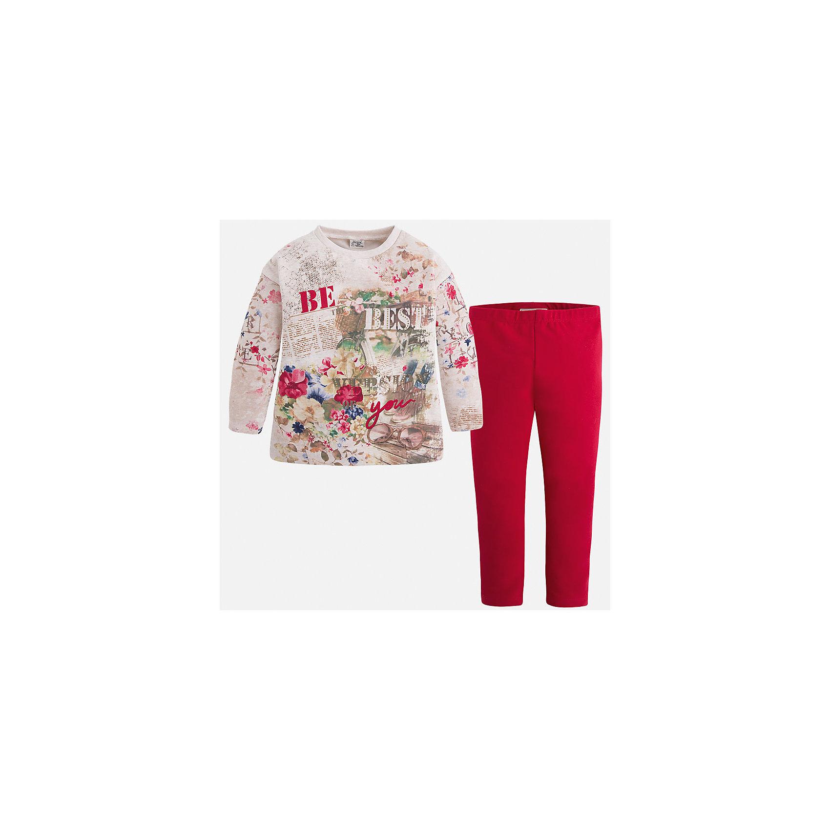 Комплект для девочки: футболка и леггинсы для девочки MayoralКомплект из леггинсов и футболки с длинным рукавом для девочки от популярного испанского бренда Mayoral(Майорал). Изготовленный из прочных, хорошо сохраняющих тепло материалов. Яркая расцветка с оригинальным принтом - то, что нужно моднице, любящей быть в центре внимания!<br>Дополнительная информация:<br>-цвет: красный/белый<br>-состав: футболка: 48% хлопок, 47% полиэстер, 5% эластан; леггинсы: 92% хлопок, 8% эластан<br>Комплект из леггинсов и футболки Mayoral(Майорал) вы можете купить в нашем интернет-магазине.<br><br>Ширина мм: 123<br>Глубина мм: 10<br>Высота мм: 149<br>Вес г: 209<br>Цвет: красный<br>Возраст от месяцев: 48<br>Возраст до месяцев: 60<br>Пол: Женский<br>Возраст: Детский<br>Размер: 110,116,92,128,98,104,134,122<br>SKU: 4844134