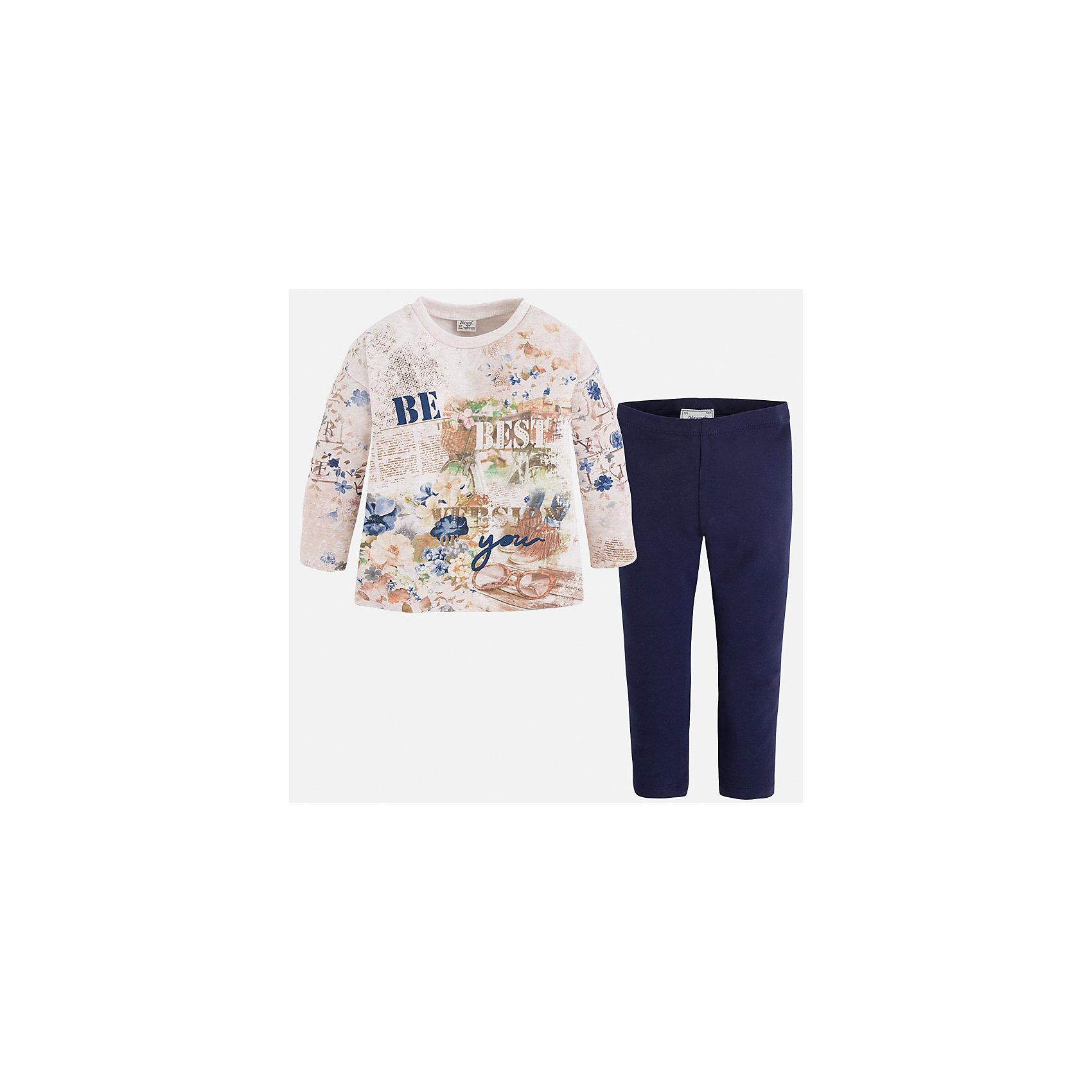 Леггинсы для девочки MayoralКомплекты<br>Комплект из леггинсов и свитера для девочки от популярного испанского бренда Mayoral(Майорал). Изготовленный из прочных, хорошо сохраняющих тепло материалов. Яркая расцветка с оригинальным принтом - то, что нужно моднице, любящей быть в центре внимания!<br>Дополнительная информация:<br>-цвет: темно-синий/белый<br>-состав: свитер: 48% хлопок, 47% полиэстер, 5% эластан; леггинсы: 92% хлопок, 8% эластан<br>Комплект из леггинсов и свитера Mayoral(Майорал) вы можете купить в нашем интернет-магазине.<br><br>Ширина мм: 123<br>Глубина мм: 10<br>Высота мм: 149<br>Вес г: 209<br>Цвет: синий<br>Возраст от месяцев: 60<br>Возраст до месяцев: 72<br>Пол: Женский<br>Возраст: Детский<br>Размер: 92,122,116,128,110,98,134,104<br>SKU: 4844143