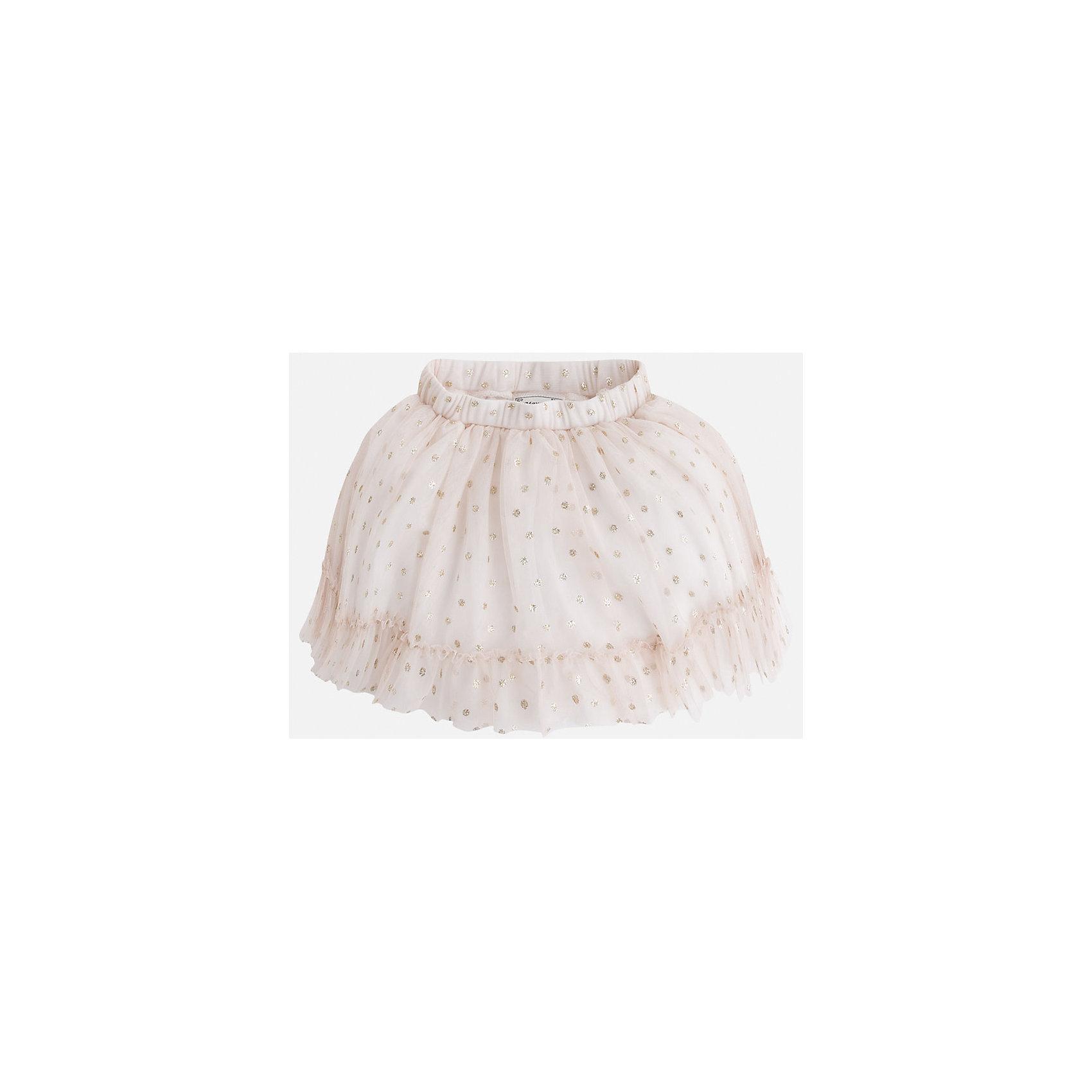 Юбка для девочки MayoralЮбки<br>Модная пышная юбка на подкладке из натурального хлопка украшена блестками и оборкой. Модель с двойным слоем фатина дополнена удобной регулируемой эластичной резинкой на поясе. <br><br>Дополнительная информация: <br><br>- цвет: бежевый<br>- состав: полиэстер 100% ;подкладка хлопок 100%<br>- фактура материала: текстильный<br>- вид застежки: молния<br>- длина изделия: по спинке: 48 см<br>- длина юбки: миди<br>- тип посадки: средняя посадка<br>- тип карманов: без карманов<br>- уход за вещами: бережная стирка при 30 градусах<br>- рисунок: без рисунка<br>- назначение: праздничная<br>- сезон: круглогодичный<br>- пол: девочки<br>- страна бренда: Испания<br>- комплектация: юбка<br><br>Юбку для девочки торговой марки Mayoral можно купить в нашем интернет-магазине.<br><br>Ширина мм: 207<br>Глубина мм: 10<br>Высота мм: 189<br>Вес г: 183<br>Цвет: бежевый<br>Возраст от месяцев: 24<br>Возраст до месяцев: 36<br>Пол: Женский<br>Возраст: Детский<br>Размер: 98,104,110,128,116,122,134<br>SKU: 4844215