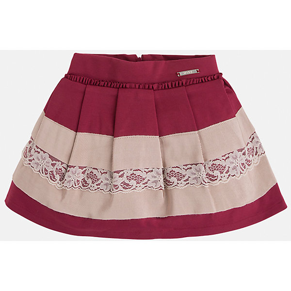Юбка для девочки MayoralОдежда<br>Юбка для девочка от известного испанского бренда Mayoral(Майорал). Модель изготовлена из качественных материалов, приятных на ощупь. Юбка застегивается на молнию, украшена оборками, нежными кружевами. Контрастный дизайн юбки отлично смотрится на юной моднице!<br>Дополнительная информация:<br>-сзади застегивается на молнию<br>-украшена кружевами и оборками<br>-цвет: красный/бежевый<br>-состав: 71% вискоза, 26% полиамид, 3% эластан; подкладка: 80% полиэстер, 20% хлопок<br>Юбку Mayoral(Майорал) можно приобрести в нашем интернет-магазине.<br><br>Ширина мм: 207<br>Глубина мм: 10<br>Высота мм: 189<br>Вес г: 183<br>Цвет: красный<br>Возраст от месяцев: 24<br>Возраст до месяцев: 36<br>Пол: Женский<br>Возраст: Детский<br>Размер: 98,122,104,116,110,134,128<br>SKU: 4844231