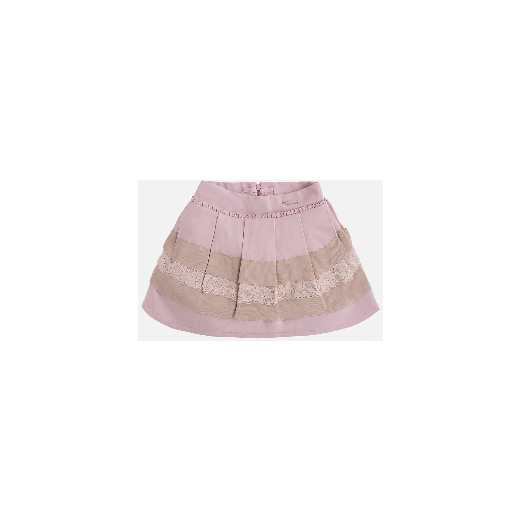 Юбка для девочки MayoralОдежда<br>Юбка для девочка от известного испанского бренда Mayoral(Майорал). Модель изготовлена из качественных материалов, приятных на ощупь. Юбка застегивается на молнию, украшена оборками, нежными кружевами. Контрастный дизайн юбки отлично смотрится на юной моднице!<br>Дополнительная информация:<br>-сзади застегивается на молнию<br>-украшена кружевами и оборками<br>-цвет: розовый/бежевый<br>-состав: 71% вискоза, 26% полиамид, 3% эластан; подкладка: 80% полиэстер, 20% хлопок<br>Юбку Mayoral(Майорал) можно приобрести в нашем интернет-магазине.<br><br>Ширина мм: 207<br>Глубина мм: 10<br>Высота мм: 189<br>Вес г: 183<br>Цвет: розовый<br>Возраст от месяцев: 36<br>Возраст до месяцев: 48<br>Пол: Женский<br>Возраст: Детский<br>Размер: 104,116,110,134,128,122,98<br>SKU: 4844239