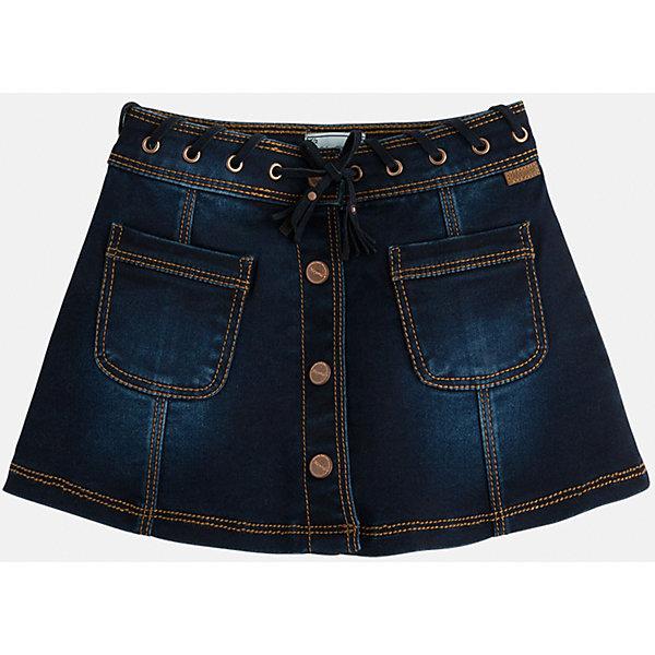 Юбка джинсовая для девочки MayoralДжинсовая одежда<br>Юбка для девочки от известного испанского бренда Mayoral(Vайорал) Юбка с двумя карманами спереди и оригинальной шнуровкой на поясе несомненно займет достойное место в гардеробе девочки.<br>Дополнительная информация:<br>-2 кармана спереди и шнуровка на поясе, пуговицы<br>-цвет: синий<br>-состав: 58% хлопок, 39% полиэстер, 3% эластан<br>Юбку для девочки Mayoral(Майорал) вы можете приобрести в нашем интернет-магазине.<br><br>Ширина мм: 207<br>Глубина мм: 10<br>Высота мм: 189<br>Вес г: 183<br>Цвет: голубой<br>Возраст от месяцев: 48<br>Возраст до месяцев: 60<br>Пол: Женский<br>Возраст: Детский<br>Размер: 110,104,122,134,116,128,98,92<br>SKU: 4844289