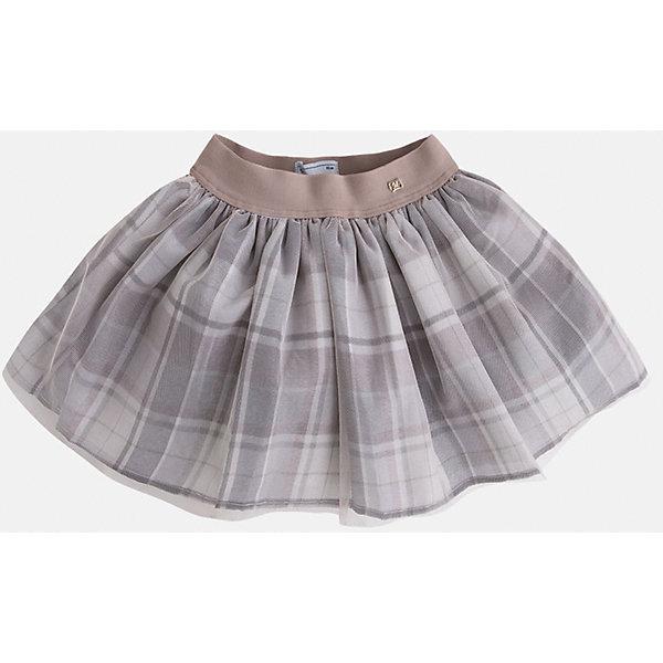 Юбка для девочки MayoralЮбки<br>Милая, кокетливая юбка для маленьких модниц с очаровательными складками, которые придают игривость и очарование данной модели, а клетка делает ее хитом нынешнего сезона. Модель дополнена эластичной резинкой на поясе.<br><br>Дополнительная информация: <br><br>- цвет: серый<br>- состав: полиэстер 100% ;подкладка: полиэстер 100%<br>- фактура материала: текстильный<br>- вид застежки: молния<br>- длина изделия: по спинке: 48 см<br>- длина юбки: миди<br>- тип посадки: средняя посадка<br>- тип карманов: без карманов<br>- уход за вещами: бережная стирка при 30 градусах<br>- рисунок: без рисунка<br>- назначение: праздничная<br>- сезон: круглогодичный<br>- пол: девочки<br>- страна бренда: Испания<br>- комплектация: юбка<br><br>Юбку для девочки торговой марки Mayoral можно купить в нашем интернет-магазине.<br><br>Ширина мм: 207<br>Глубина мм: 10<br>Высота мм: 189<br>Вес г: 183<br>Цвет: серый<br>Возраст от месяцев: 96<br>Возраст до месяцев: 108<br>Пол: Женский<br>Возраст: Детский<br>Размер: 128,104,116,98,110,122,134<br>SKU: 4844298