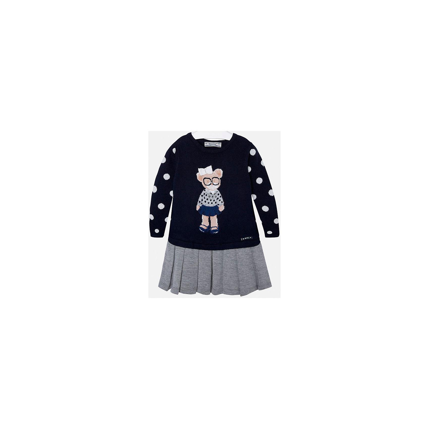 Платье для девочки MayoralОсенне-зимние платья и сарафаны<br>Платье для девочки от известного испанского бренда Mayoral(Майорал). Платье с длинным рукавом, украшено рисунком с медвежонком и стразами. Контрастная расцветка подчеркнет индивидуальность и стиль ребенка. Отличный выбор для маленькой модницы!<br>-длинные рукава<br>-украшено рисунком и стразами<br>-цвет: темно-синий/серый<br>-состав. 57% хлопок, 22% полиамид, 13% полиэстер, 8% шерсть; подкладка: 65% полиэстер, 35% хлопок<br>Платье Mayoral(Майорал) можно приобрести в нашем интернет-магазине.<br><br>Ширина мм: 236<br>Глубина мм: 16<br>Высота мм: 184<br>Вес г: 177<br>Цвет: синий<br>Возраст от месяцев: 24<br>Возраст до месяцев: 36<br>Пол: Женский<br>Возраст: Детский<br>Размер: 98,92,104,110,116,128,134,122<br>SKU: 4844432