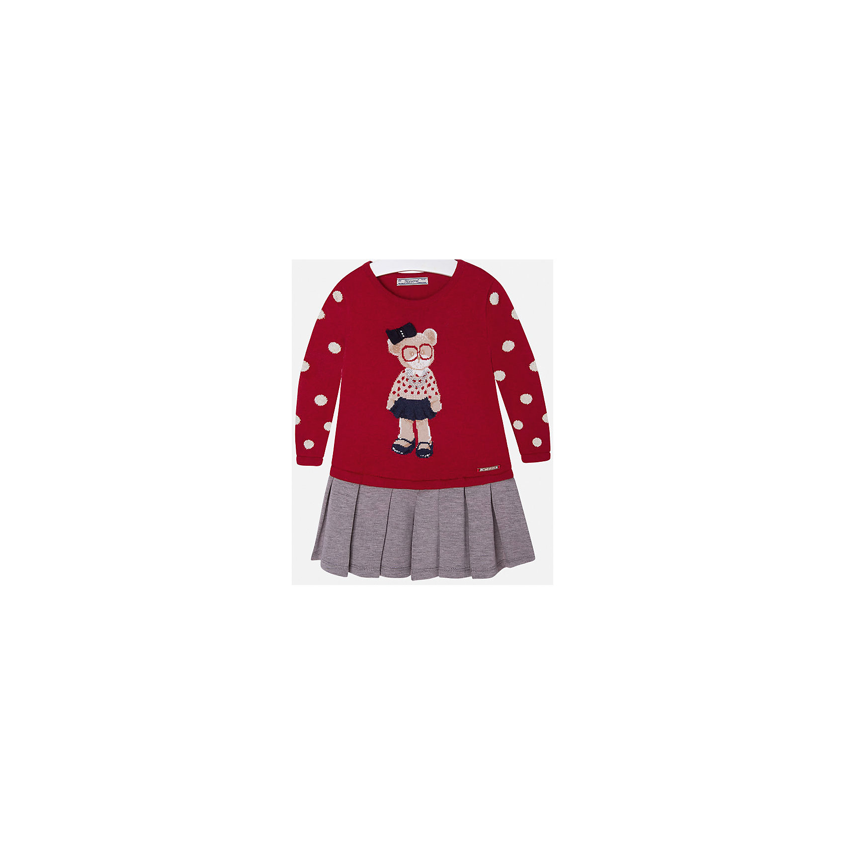 Платье для девочки MayoralПлатья и сарафаны<br>Платье для девочки от известного испанского бренда Mayoral(Майорал). Платье с длинным рукавом, украшено рисунком с медвежонком и стразами. Контрастная расцветка подчеркнет индивидуальность и стиль ребенка. Отличный выбор для маленькой модницы!<br>-длинные рукава<br>-украшено рисунком и стразами<br>-цвет: красный/серый<br>-состав. 57% хлопок, 22% полиамид, 13% полиэстер, 8% шерсть; подкладка: 65% полиэстер, 35% хлопок<br>Платье Mayoral(Майорал) можно приобрести в нашем интернет-магазине.<br><br>Ширина мм: 236<br>Глубина мм: 16<br>Высота мм: 184<br>Вес г: 177<br>Цвет: красный<br>Возраст от месяцев: 72<br>Возраст до месяцев: 84<br>Пол: Женский<br>Возраст: Детский<br>Размер: 122,128,92,116,110,134,98,104<br>SKU: 4844441