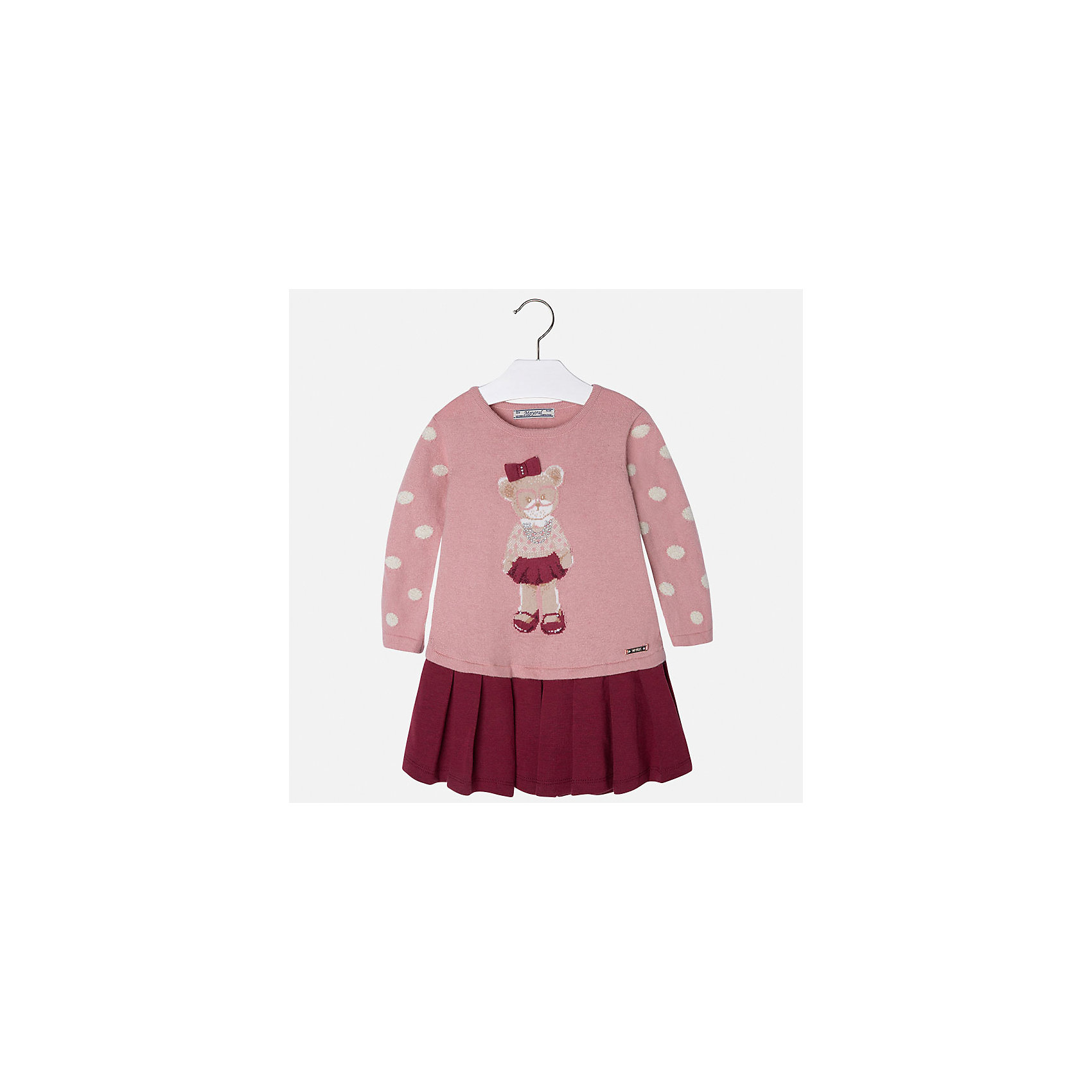 Платье для девочки MayoralПлатье для девочки от известного испанского бренда Mayoral(майорал). Платье с длинным рукавом, украшено рисунком с медвежонком и стразами. Контрастная расцветка подчеркнет индивидуальность и стиль ребенка. Отличный выбор для маленькой модницы!<br>-длинные рукава<br>-украшено рисунком и стразами<br>-цвет: розовый/красный<br>-состав. 57% хлопок, 22% полиамид, 13% полиэстер, 8% шерсть; подкладка: 65% полиэстер, 35% хлопок<br>Платье Mayoral(Майорал) можно приобрести в нашем интернет-магазине.<br><br>Ширина мм: 236<br>Глубина мм: 16<br>Высота мм: 184<br>Вес г: 177<br>Цвет: розовый<br>Возраст от месяцев: 36<br>Возраст до месяцев: 48<br>Пол: Женский<br>Возраст: Детский<br>Размер: 104,134,128,110,98,116,92,122<br>SKU: 4844450